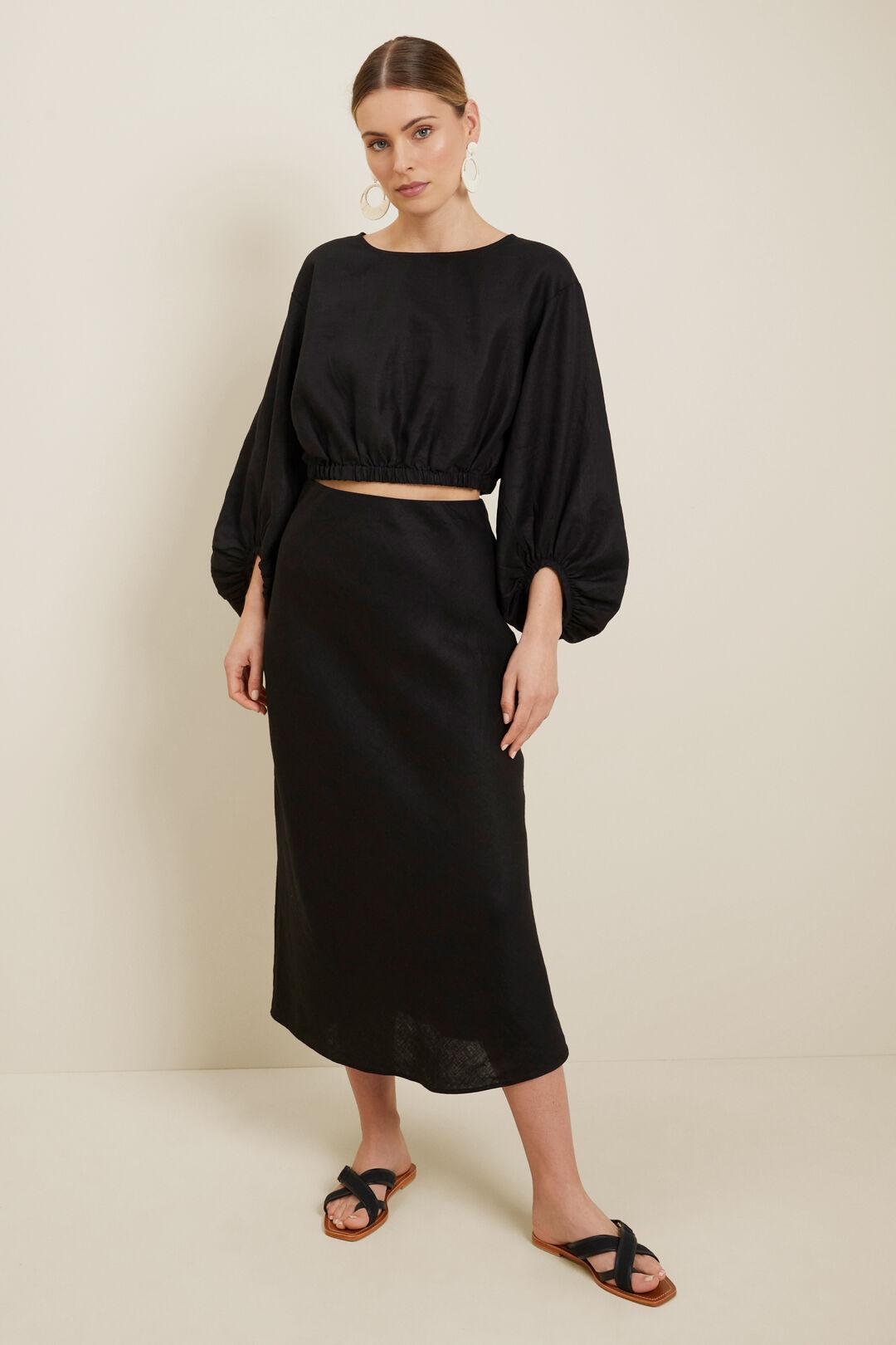 Linen Blouson Sleeve Crop Top  Black  hi-res