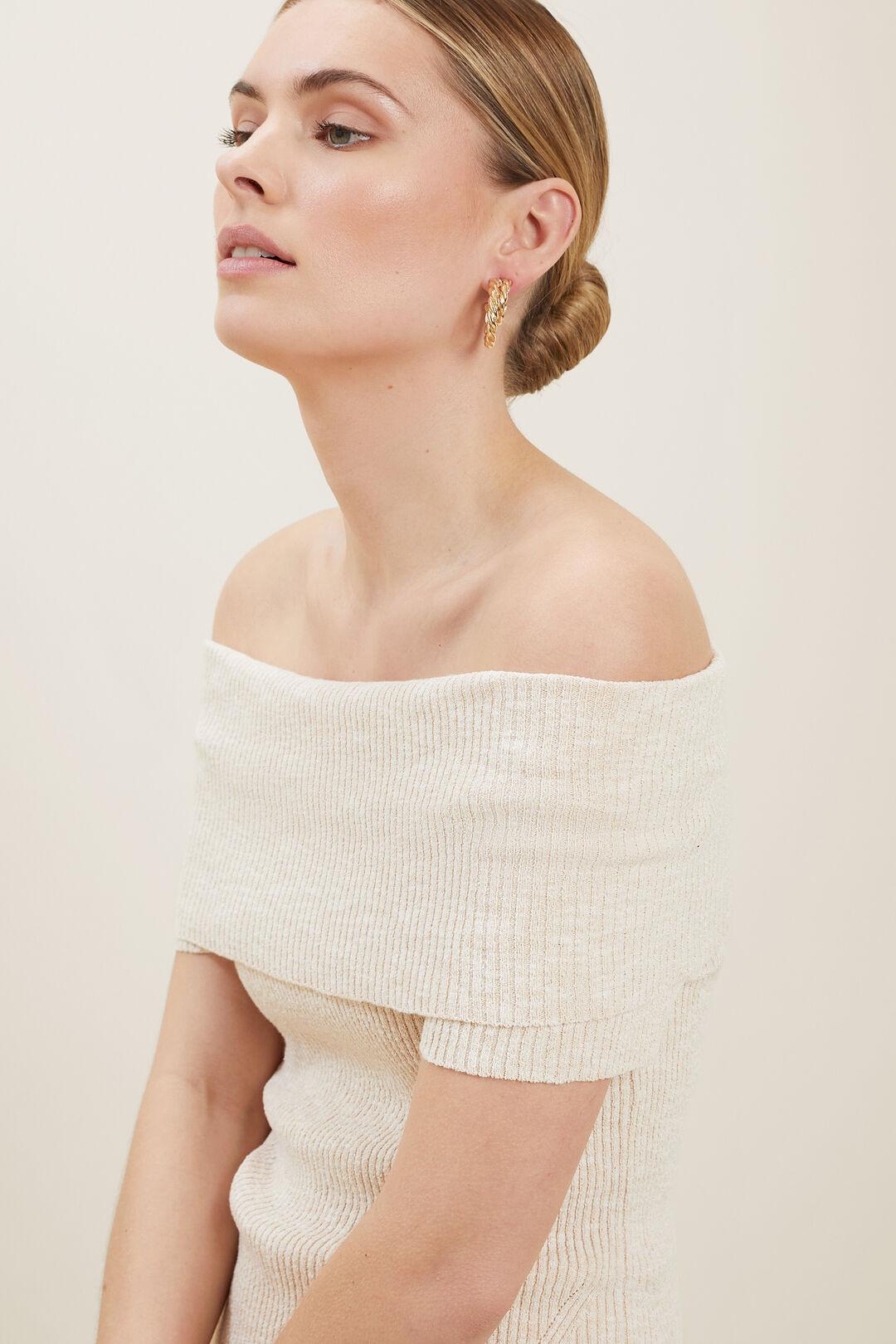 Boucle Off Shoulder Knit Top  Cloud Cream Marle  hi-res