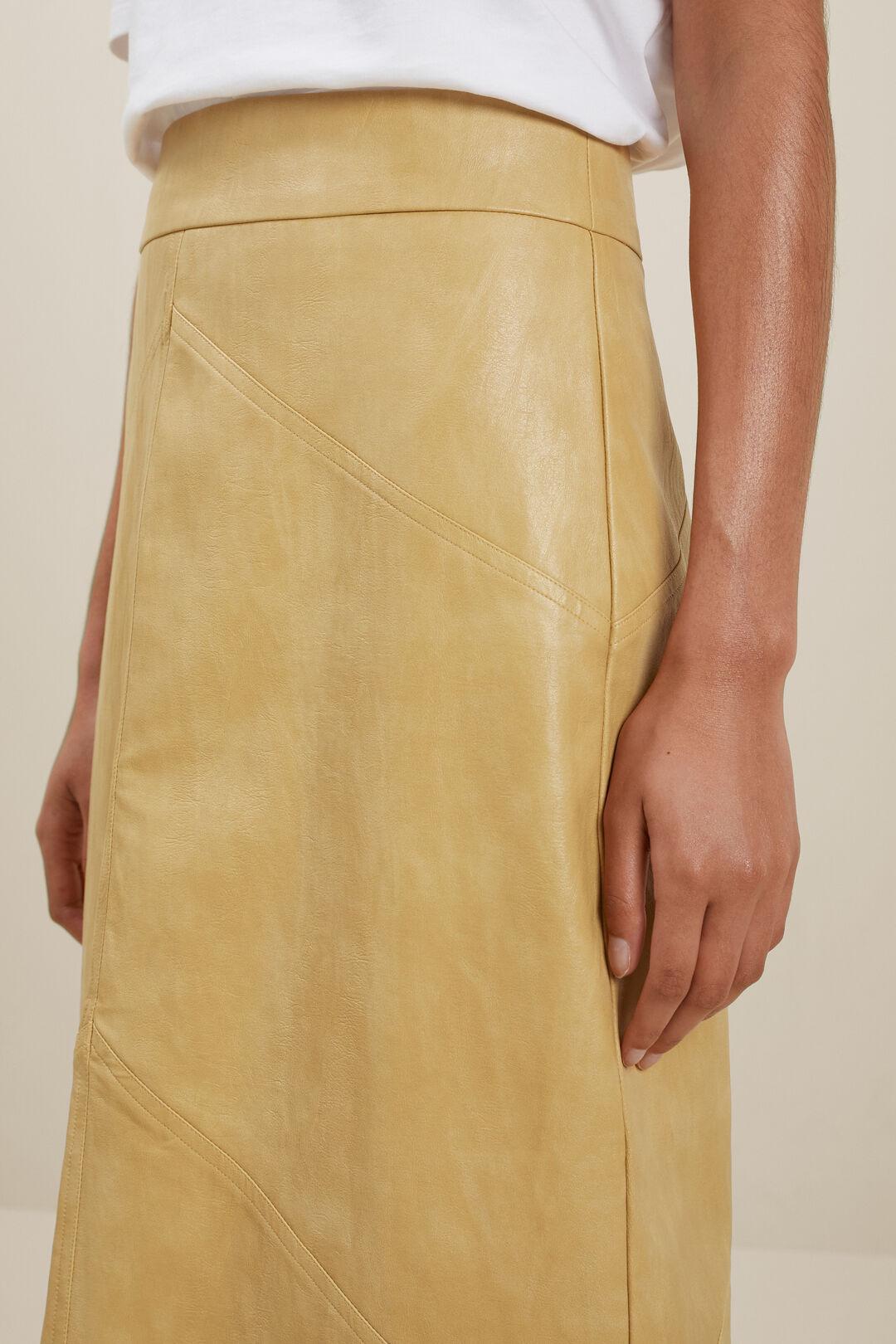 Vegan Leather Panel Midi Skirt  Fawn  hi-res