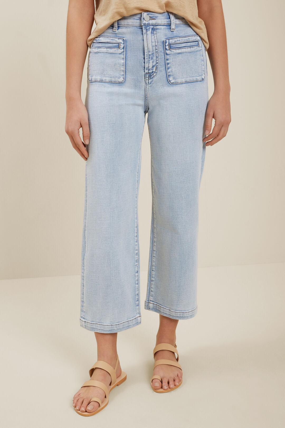 Front Pocket Crop Jeans  Sky Blue Rinse  hi-res