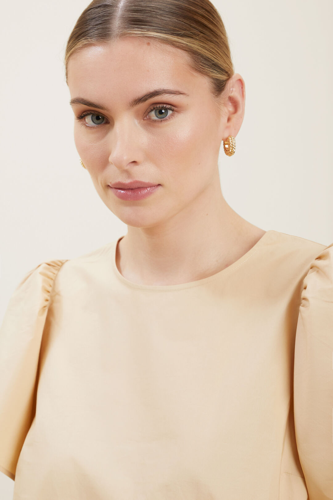 Studded Chunky Hoops  Gold  hi-res