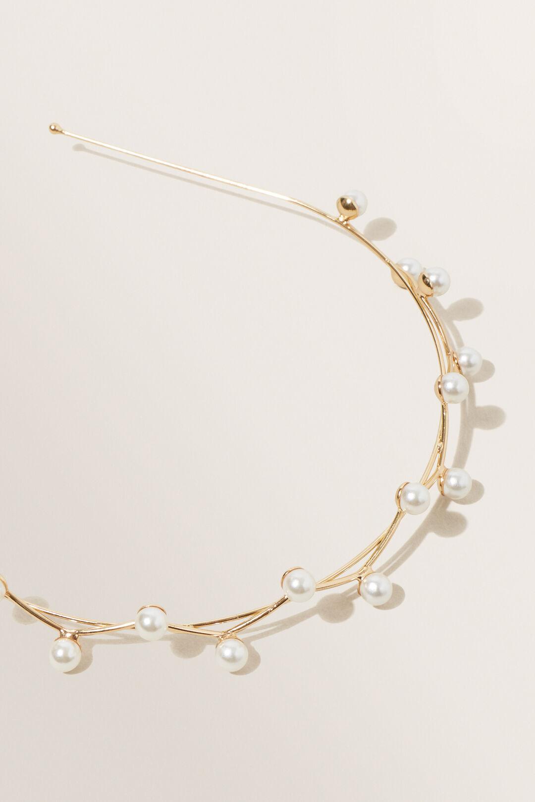 Pearl Detail Headband  Gold  hi-res