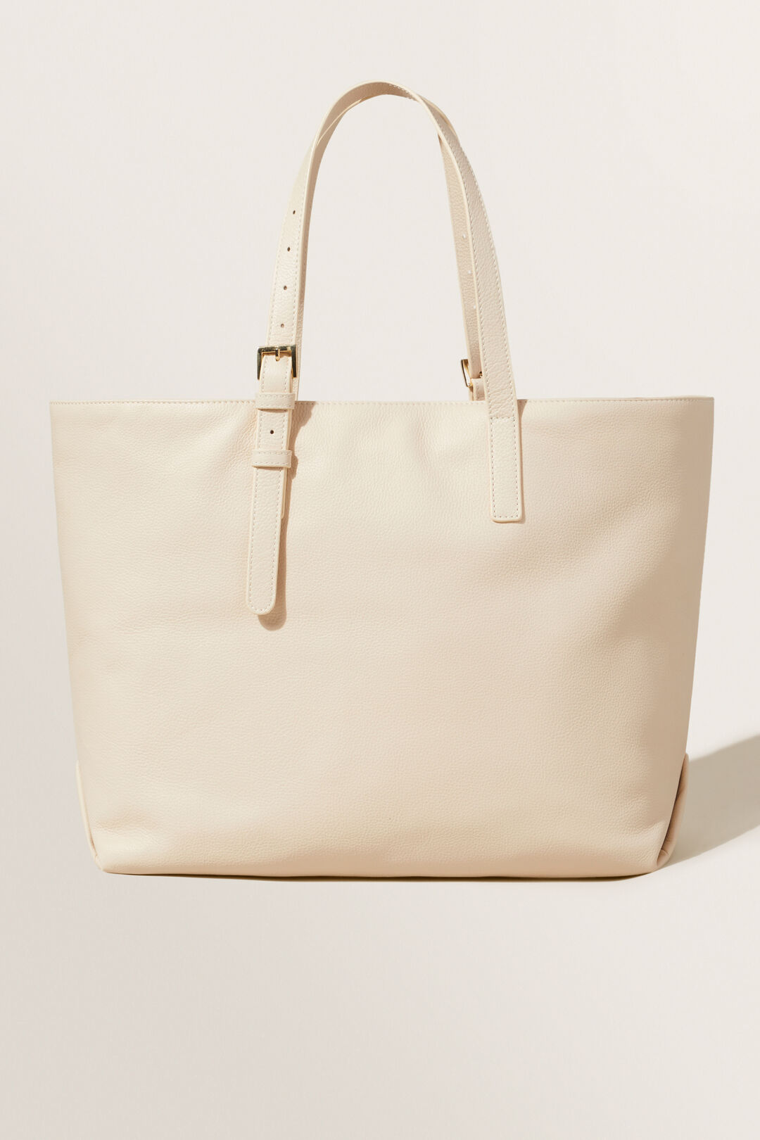 Leather Fold Detail Tote  Stone  hi-res