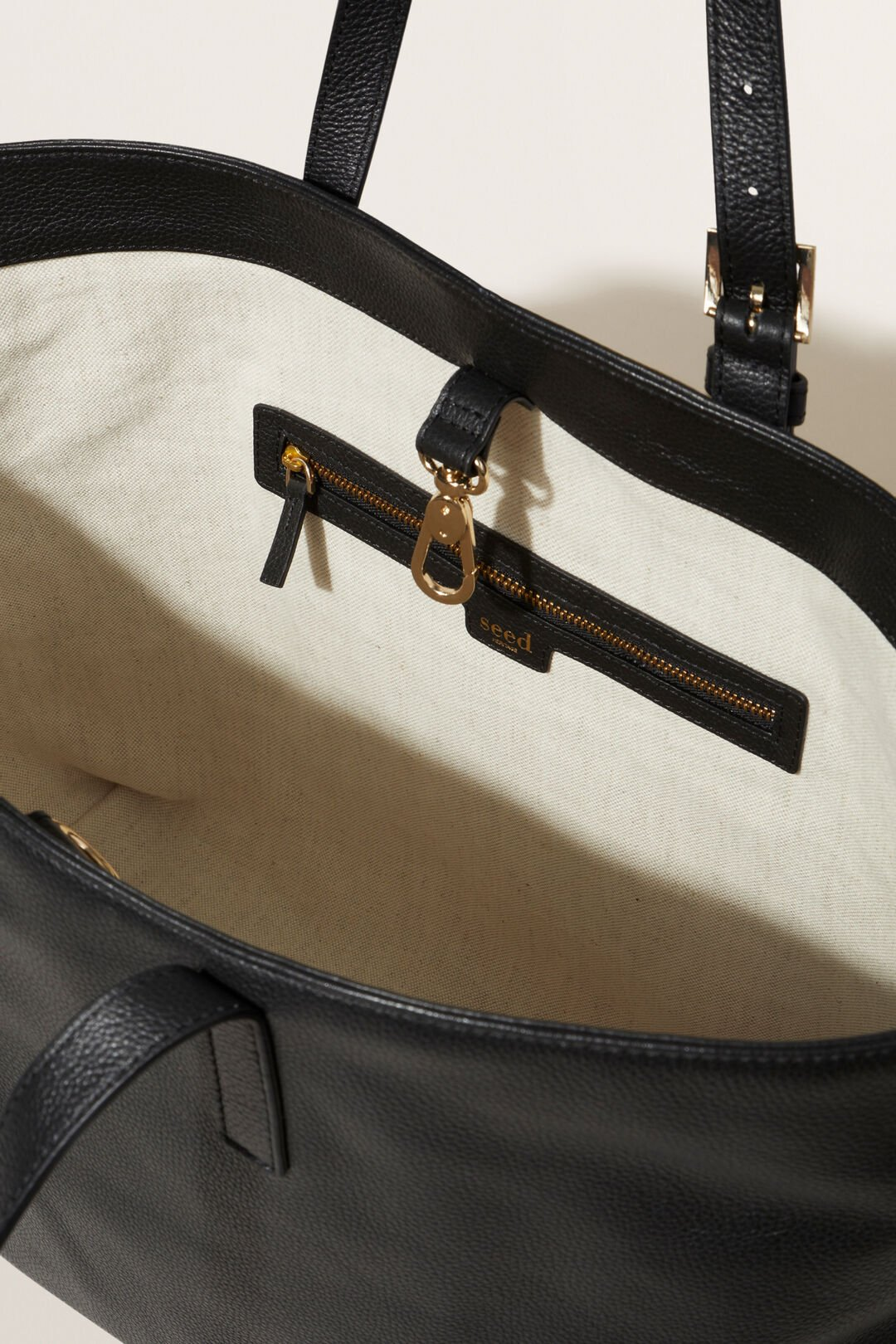 Leather Fold Detail Tote  Black  hi-res