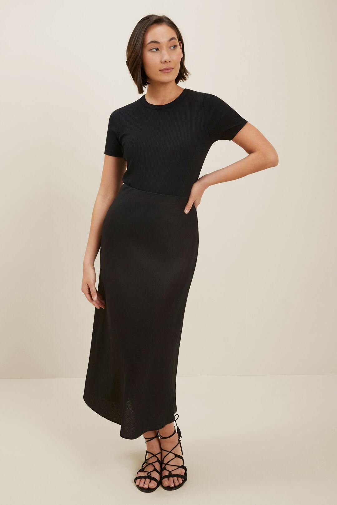 Core Linen Slip Skirt  Black  hi-res