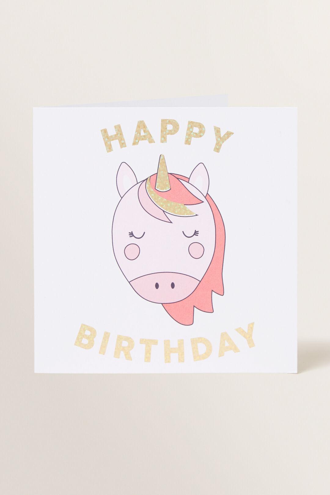Large Unicorn Happy Birthday Card  Multi  hi-res