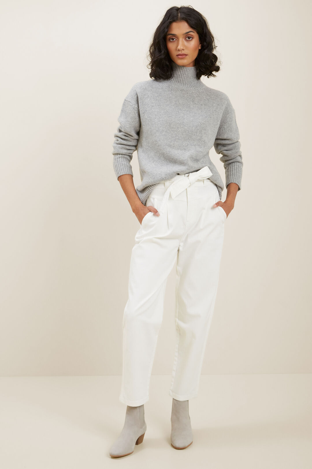 High Neck Wool Sweater  Cool Grey Marle  hi-res