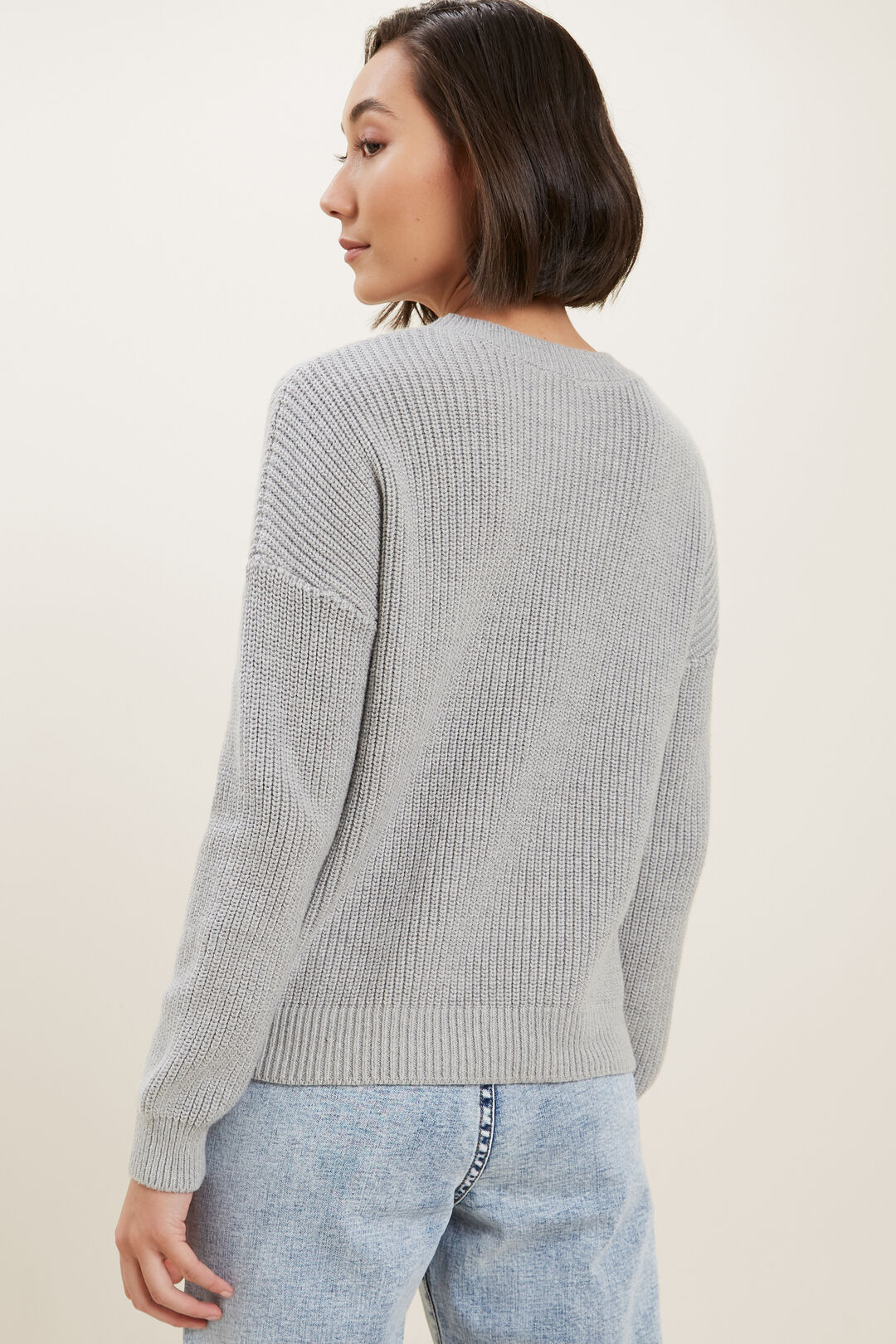 Fisherman Knit Sweater  Dim Grey Marle  hi-res