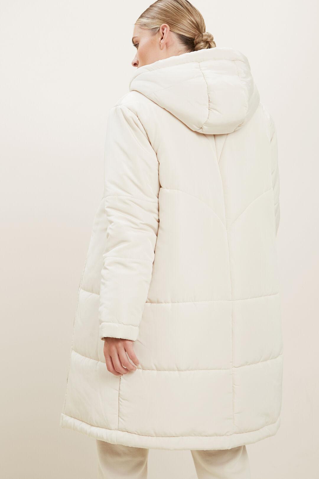 Longline Puffer Jacket  Pebble Cream  hi-res