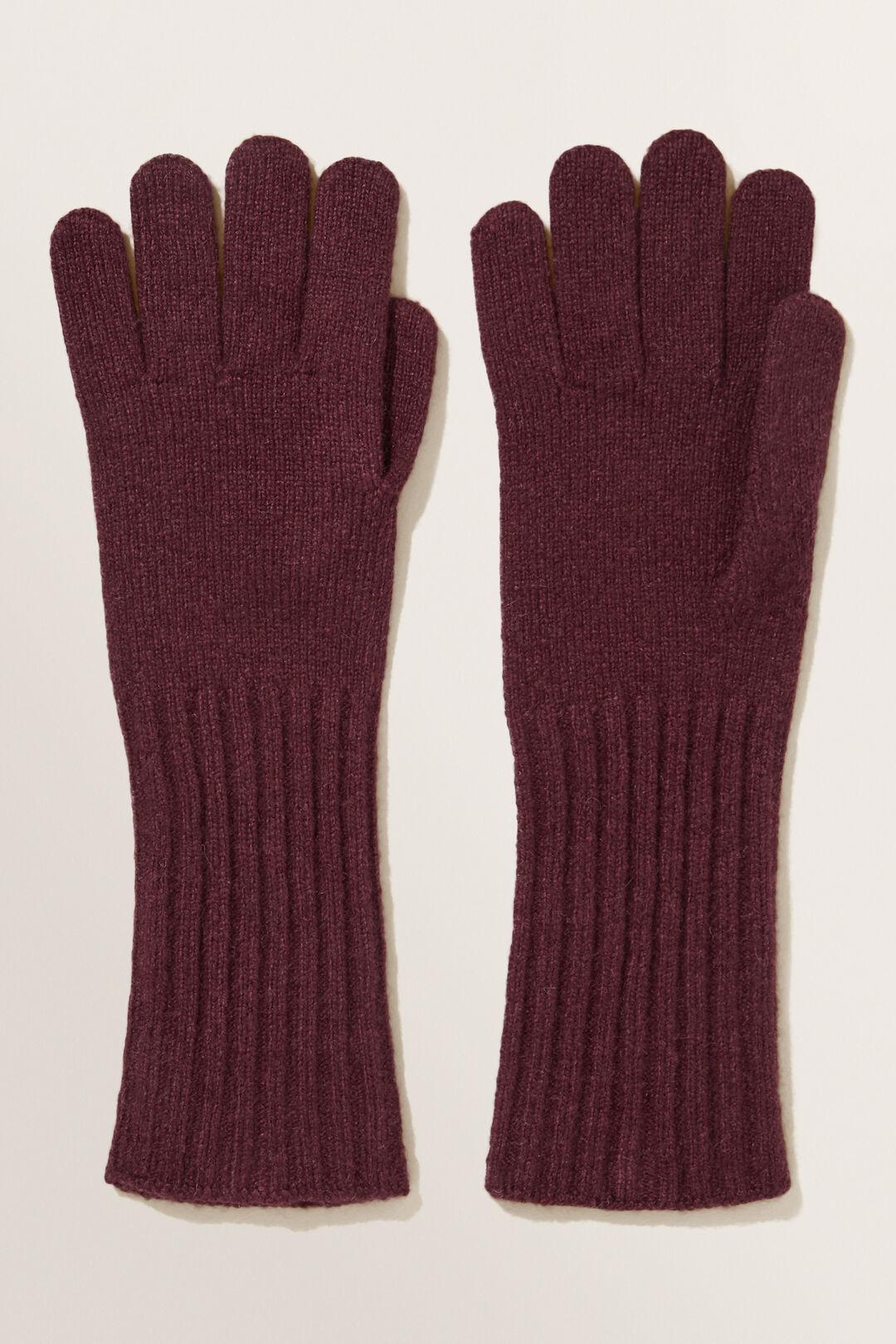 Rib Knit Gloves  Plum  hi-res