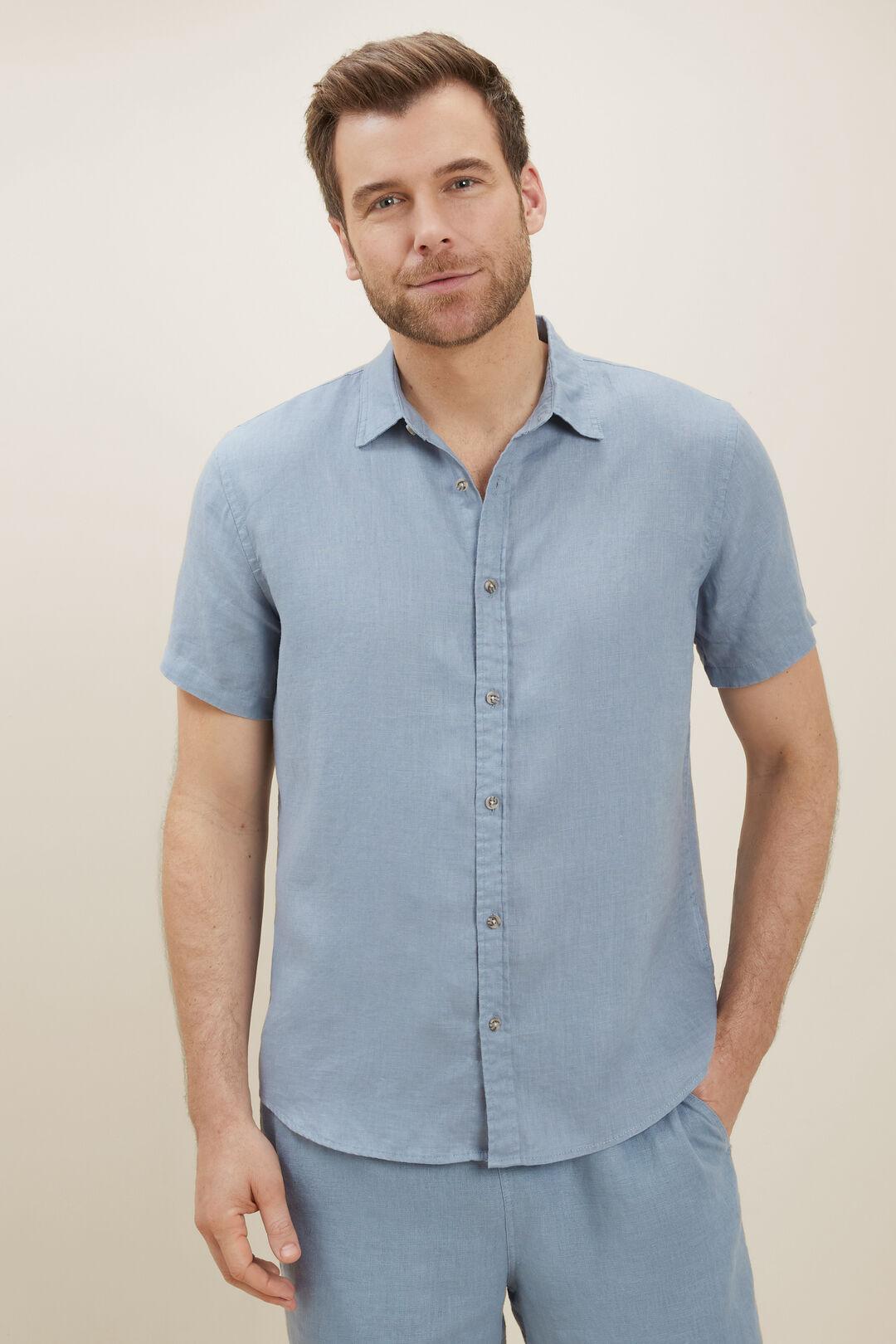 Mens Linen Shirt  Steel Blue  hi-res