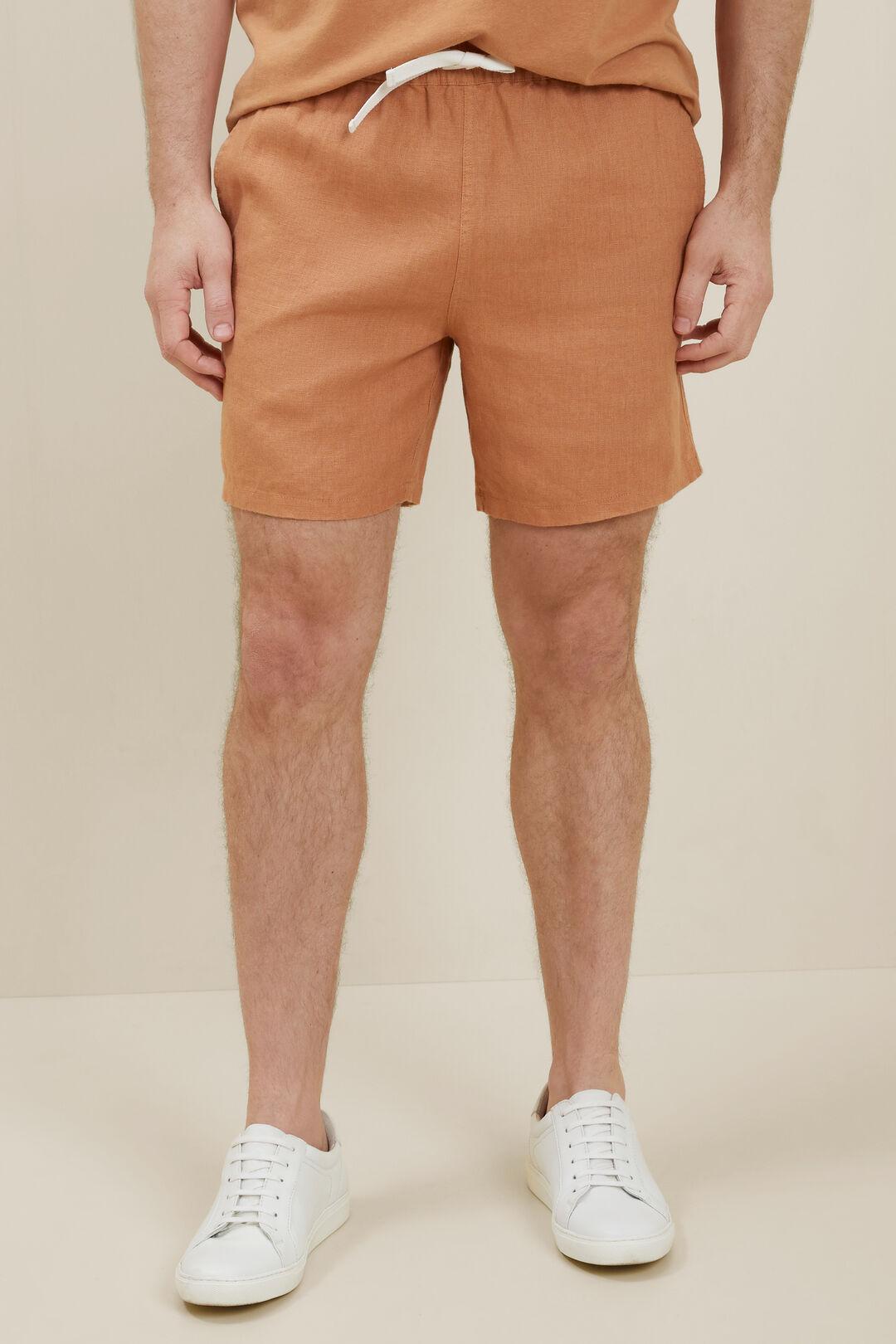 Mens Linen Shorts  Amber  hi-res