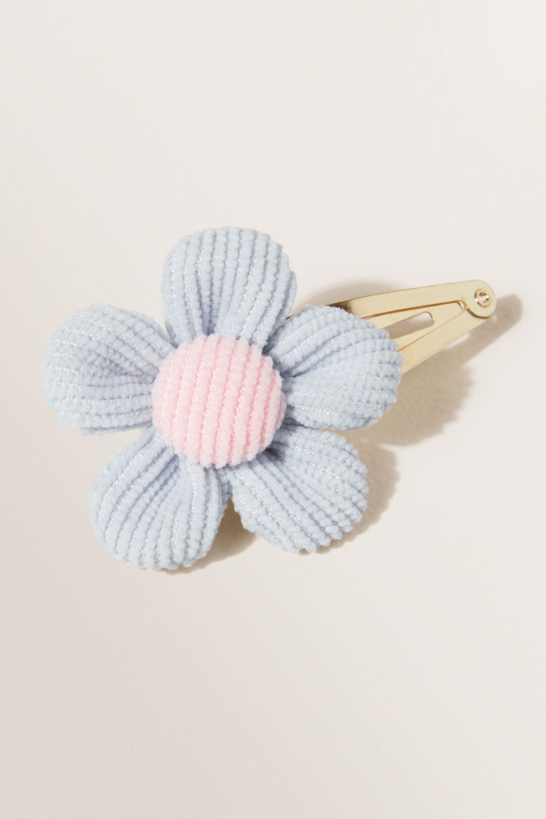 Corduroy Flower Clip  Baby Blue  hi-res