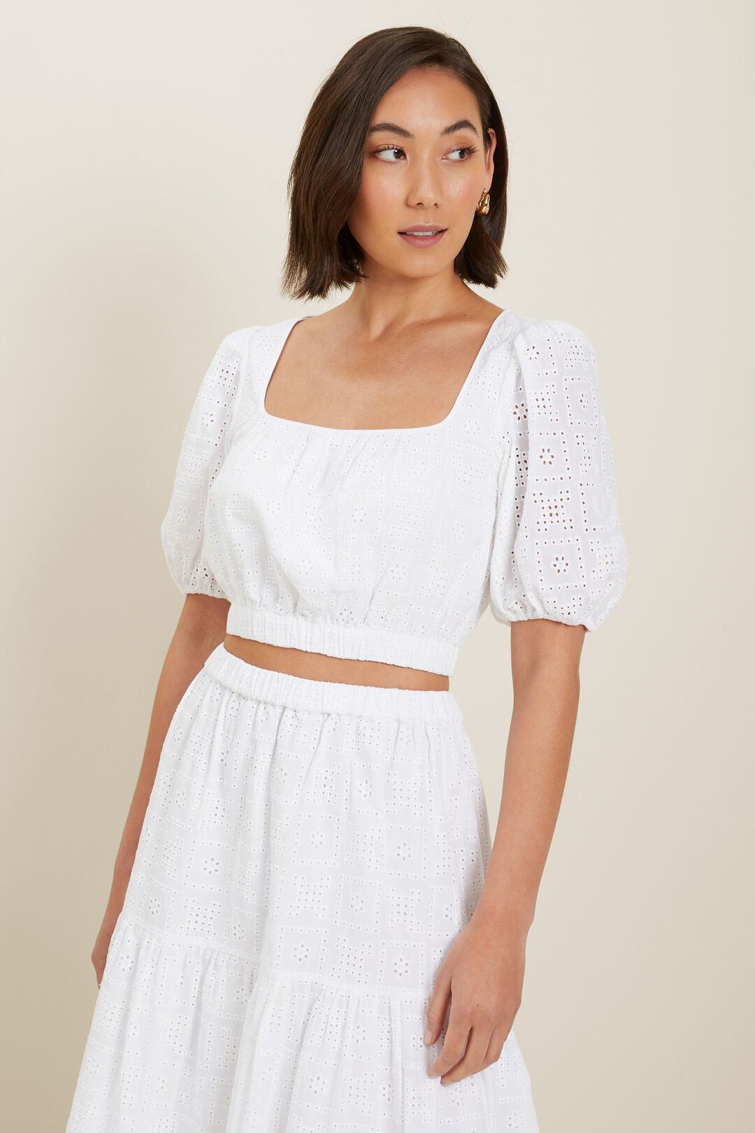 Broderie Crop Blouse  Whisper White  hi-res