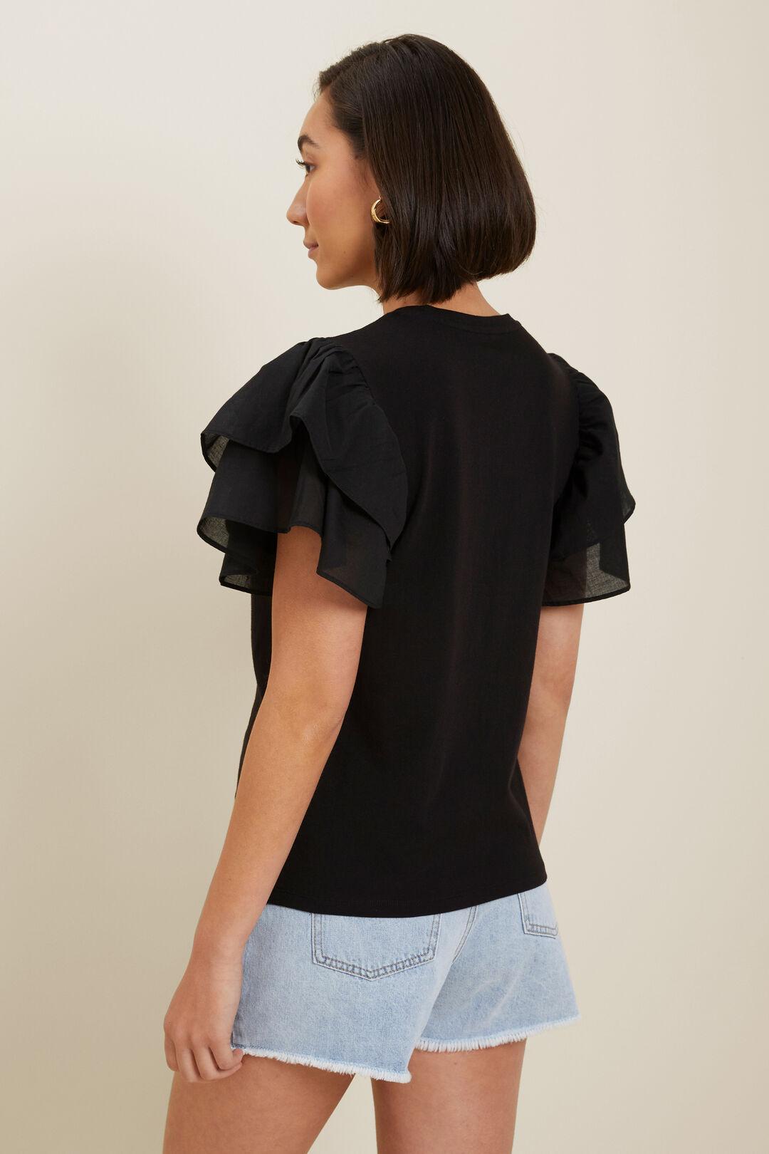 Ruffle Sleeve Top  Black  hi-res