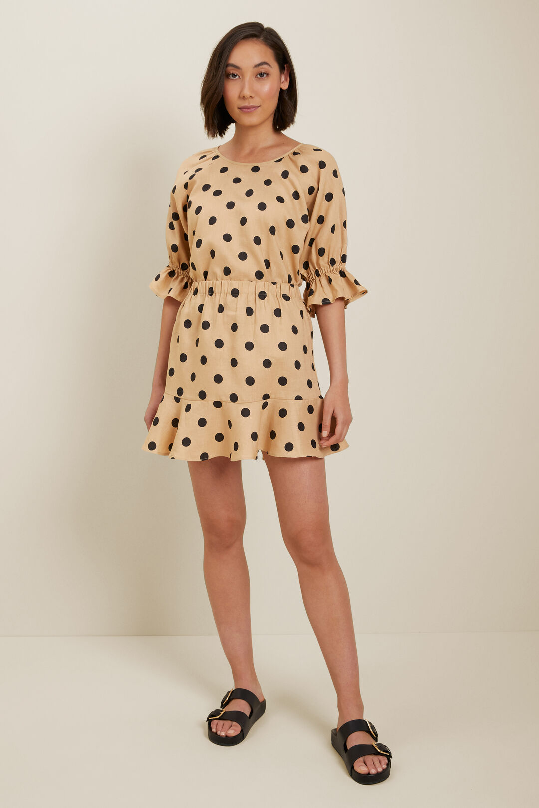 Spot Linen Mini Skirt  Neutral Sand Spot  hi-res