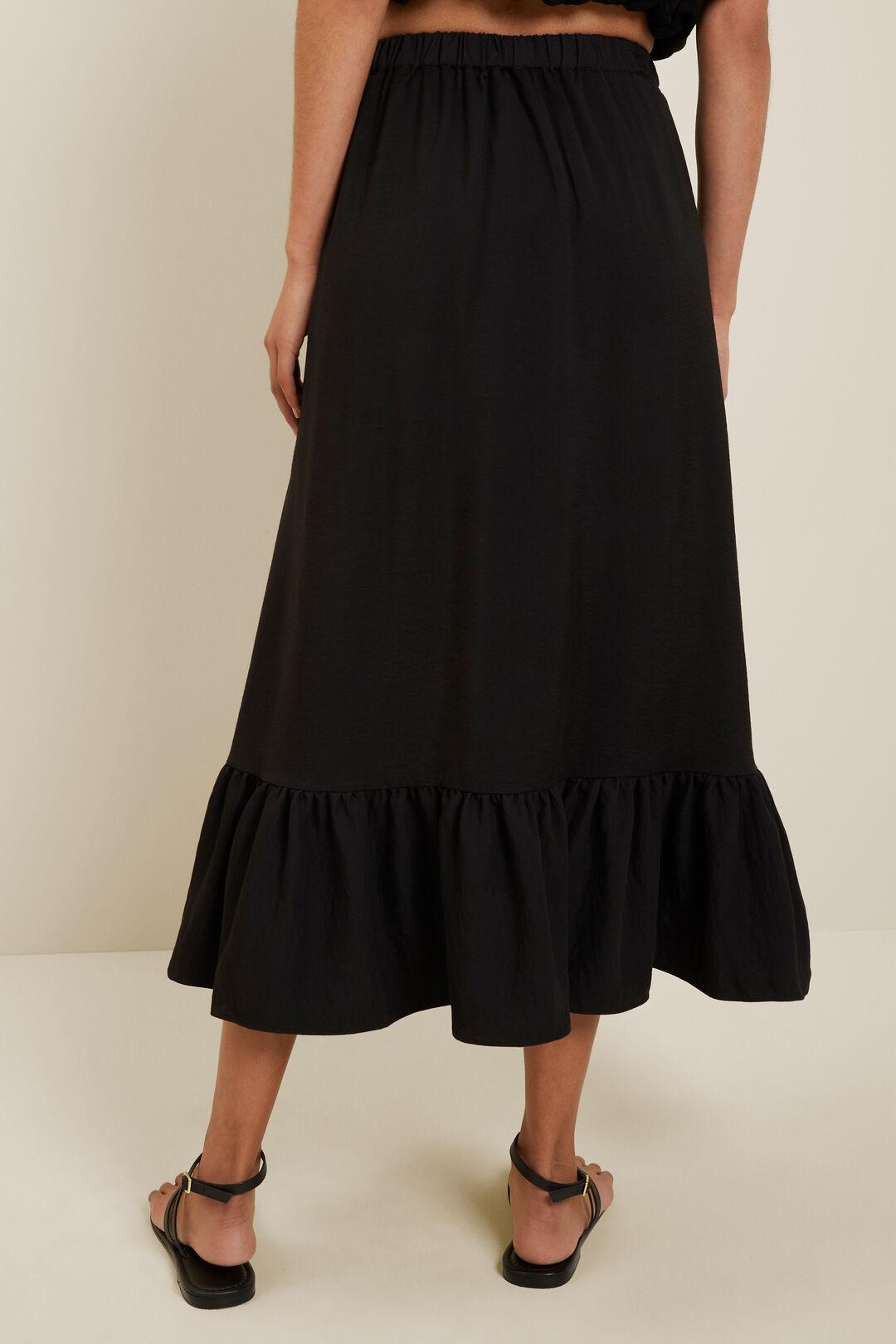 Ruffle Midi Skirt  Black  hi-res