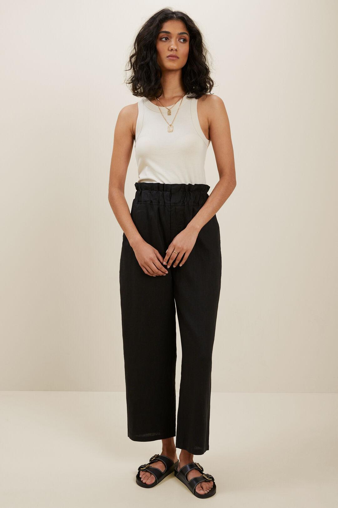 Linen Paperbag Waist Pant  Black  hi-res
