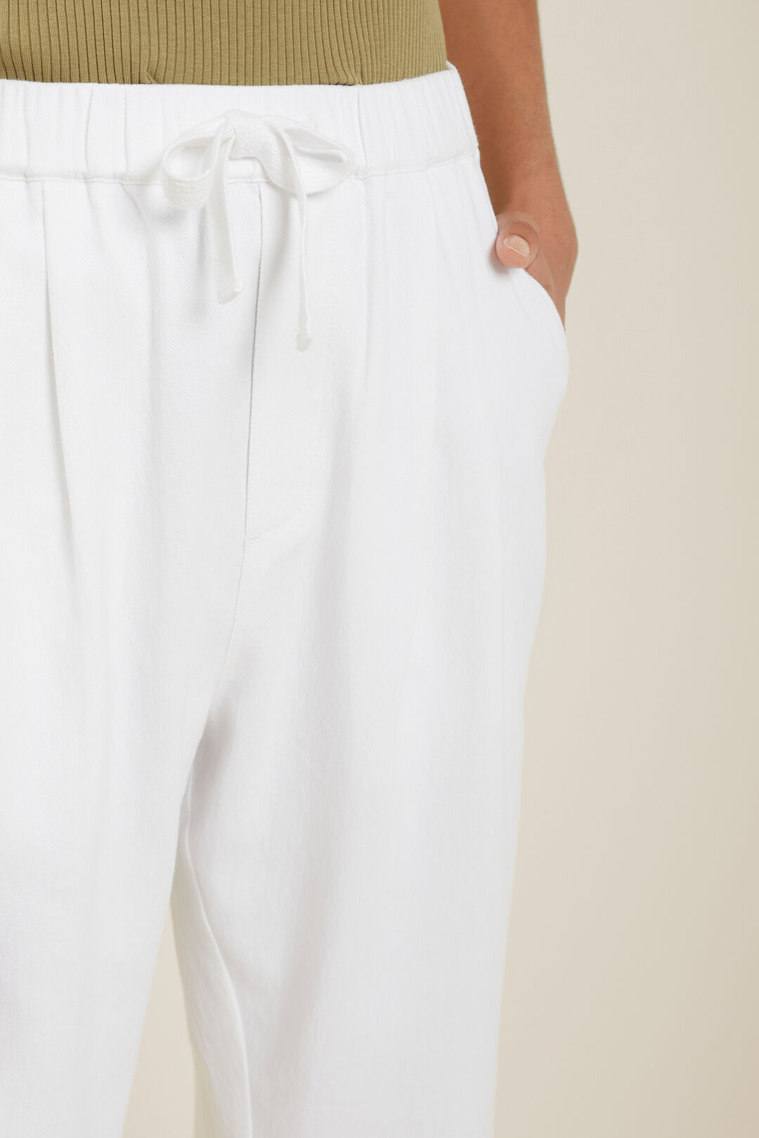 Textured Tie Waist Pant  Whisper White  hi-res