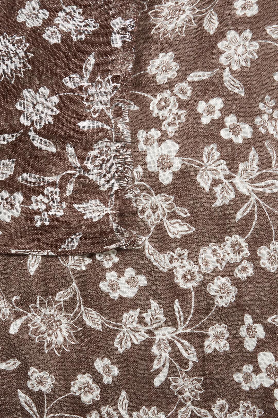 Linen Floral Scarf  Russet Brown Multi  hi-res