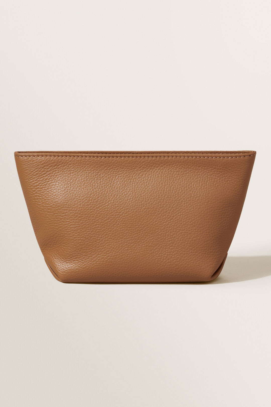 Leather Fold Detail Pouch  Honey Tan  hi-res