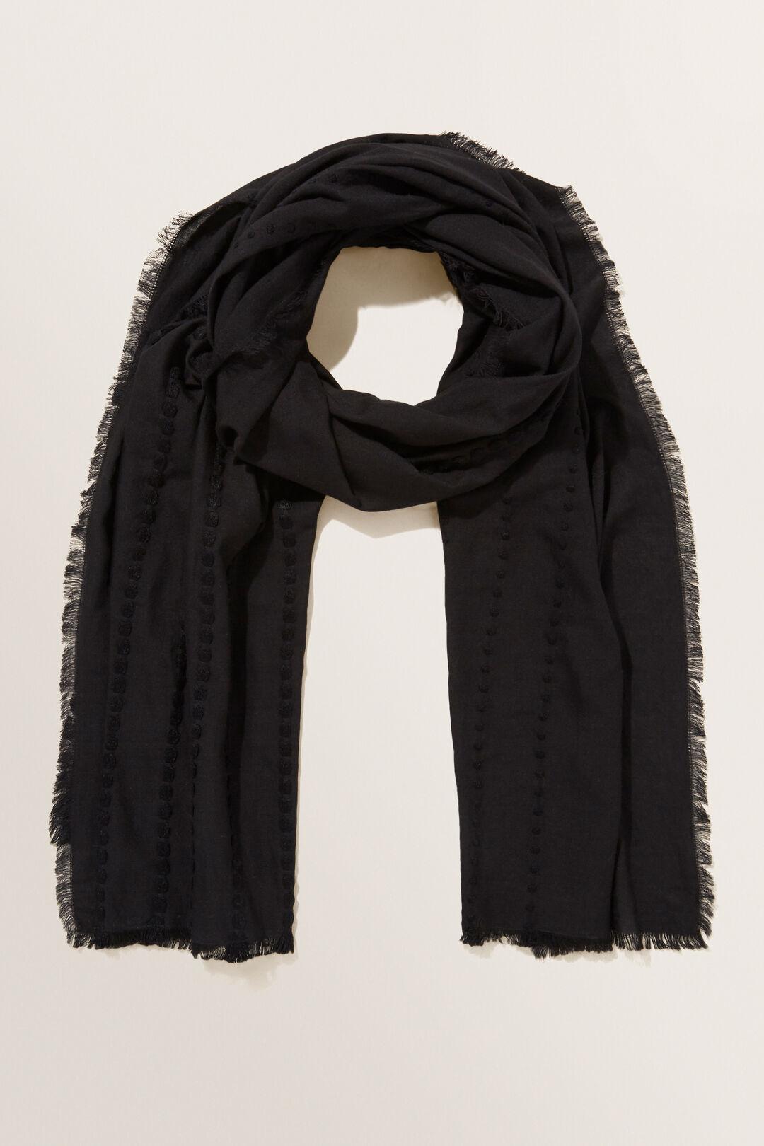 Textured Stripe Scarf  Black  hi-res