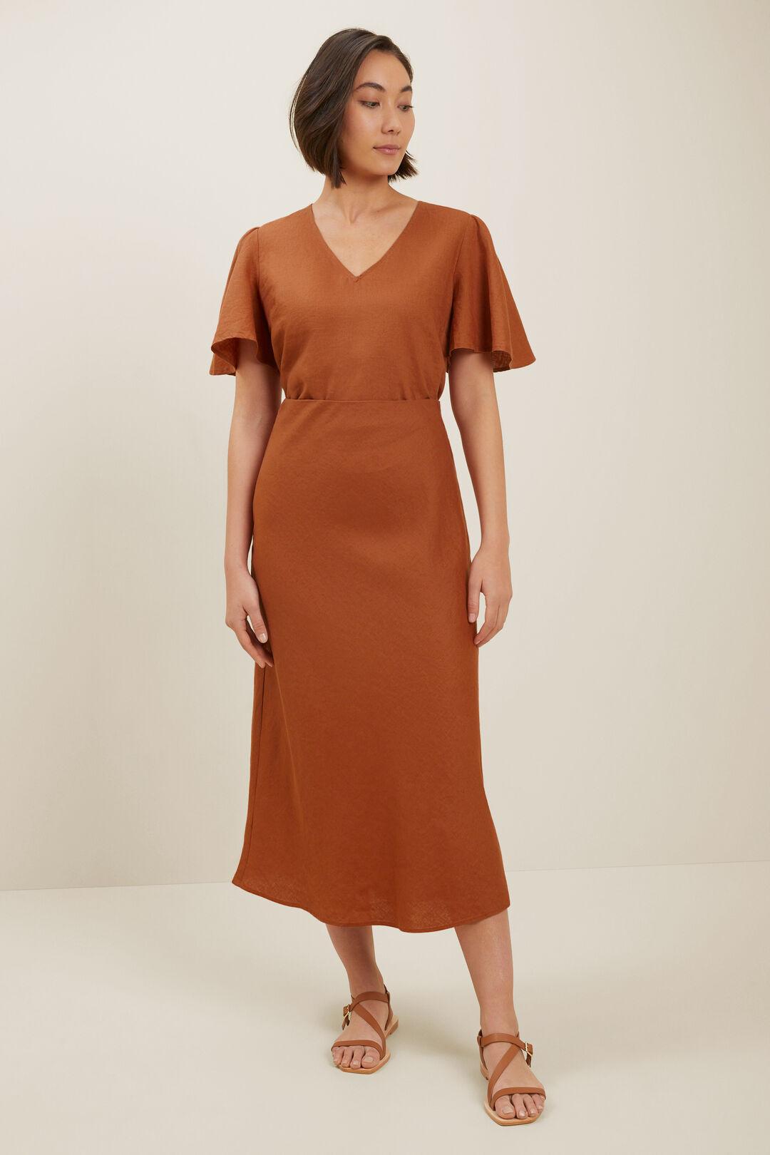 Core Linen Slip Skirt  Earth Red  hi-res