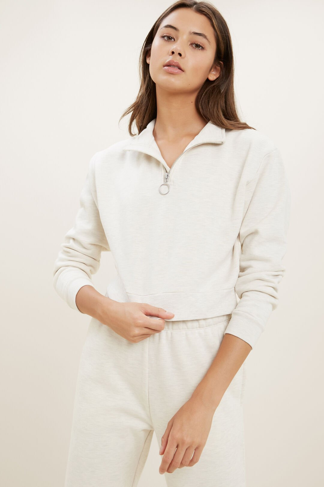 Zip Cropped Sweater  Oat Marle  hi-res