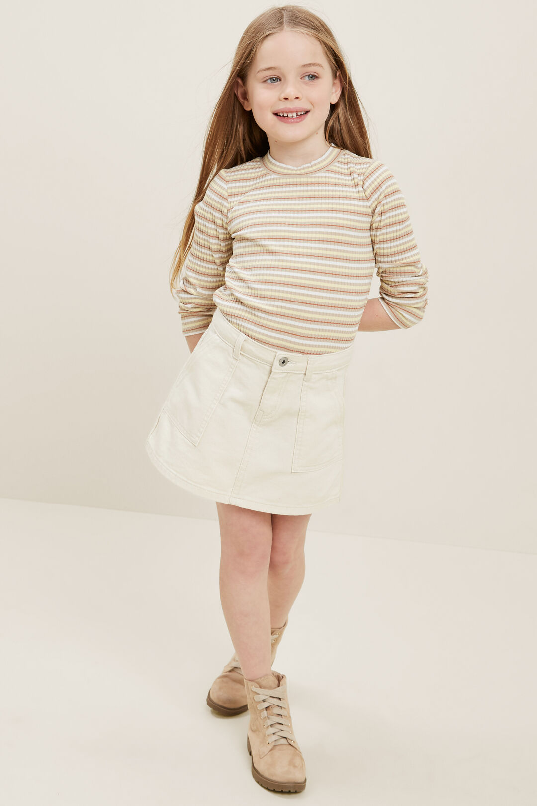 Denim Skirt  Vintage White Wash  hi-res