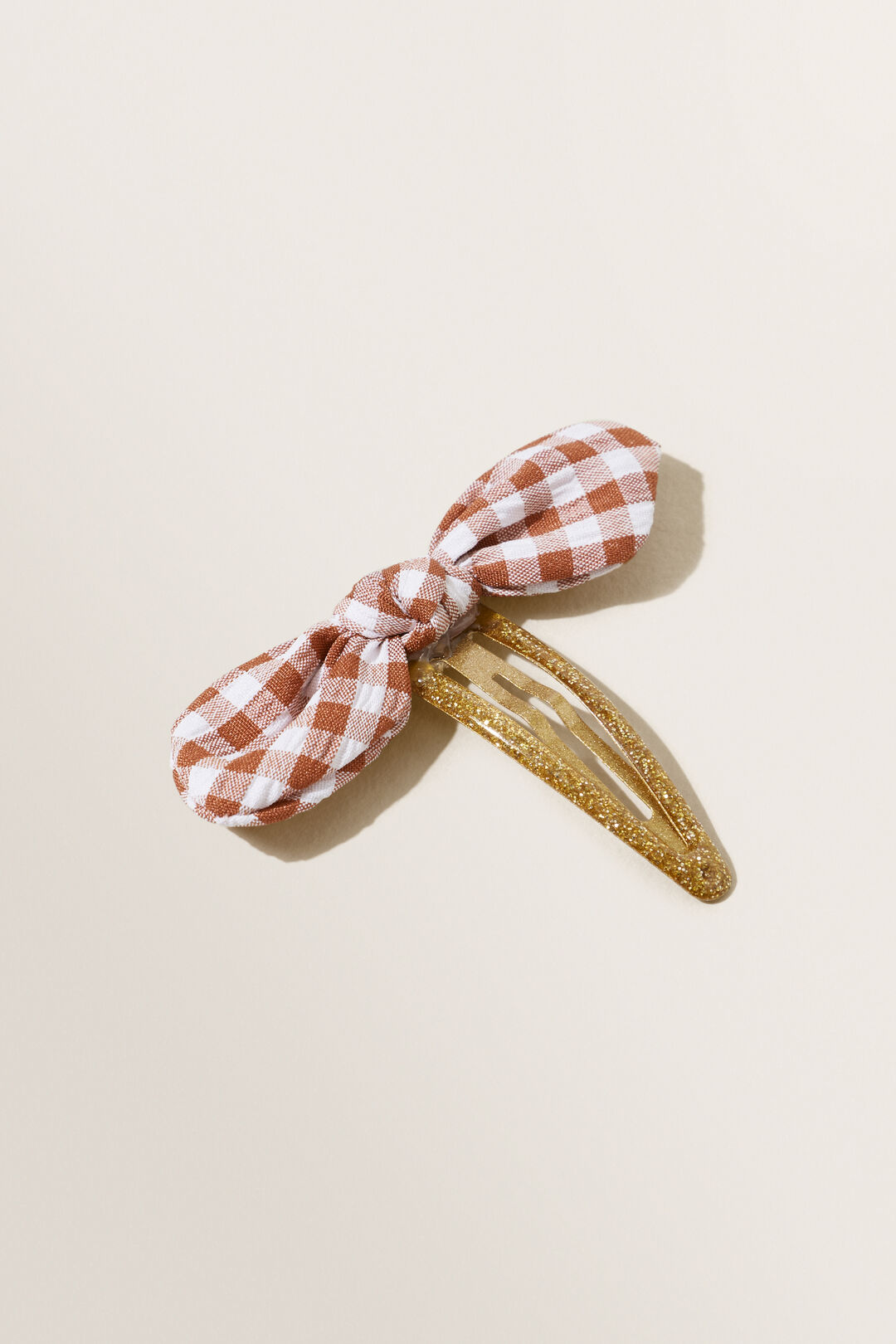 Gingham Bow Snap Clip  Multi  hi-res