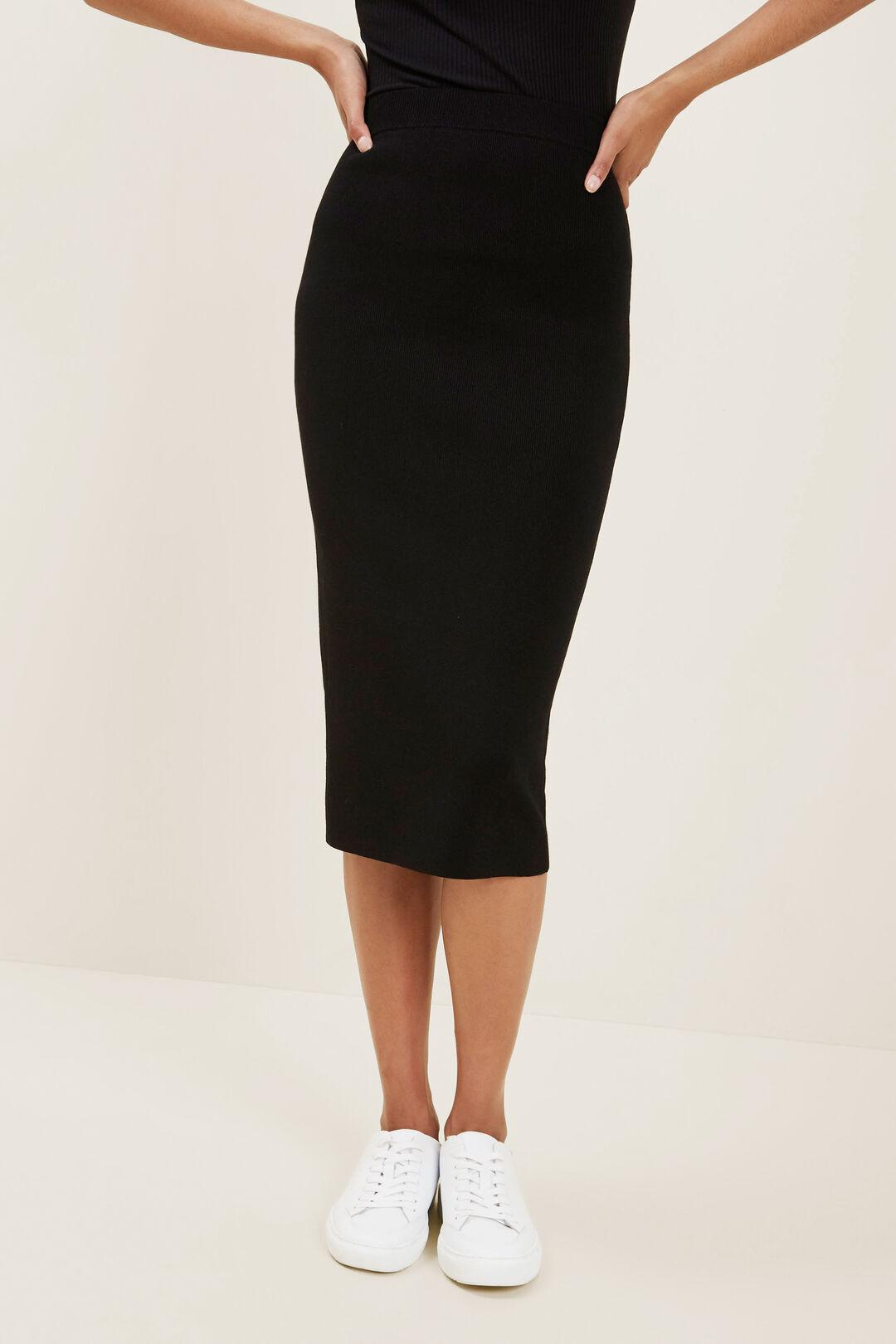 Crepe Knit Pencil Skirt  Black  hi-res