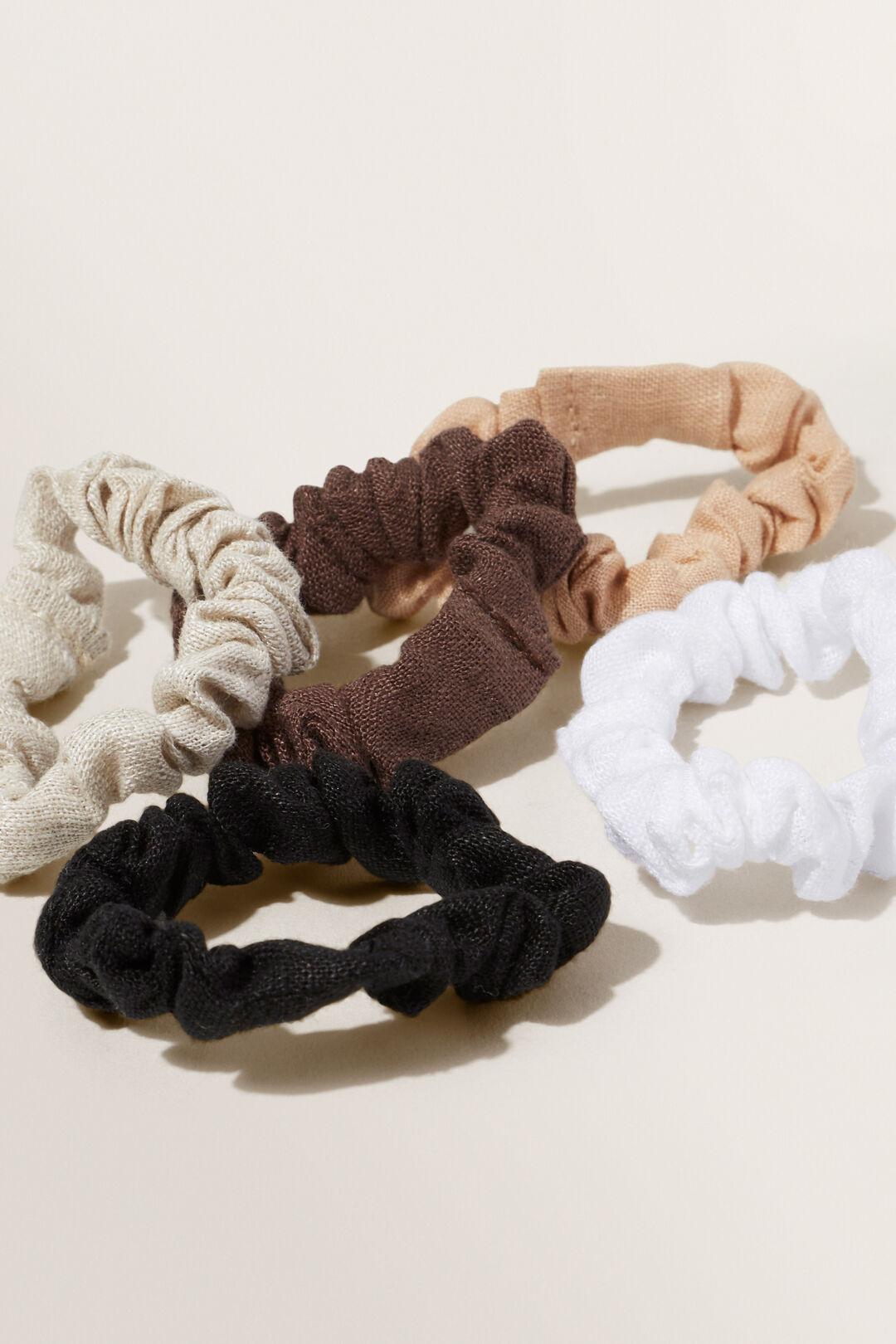 Linen Mini Scrunchies  Neutral  hi-res