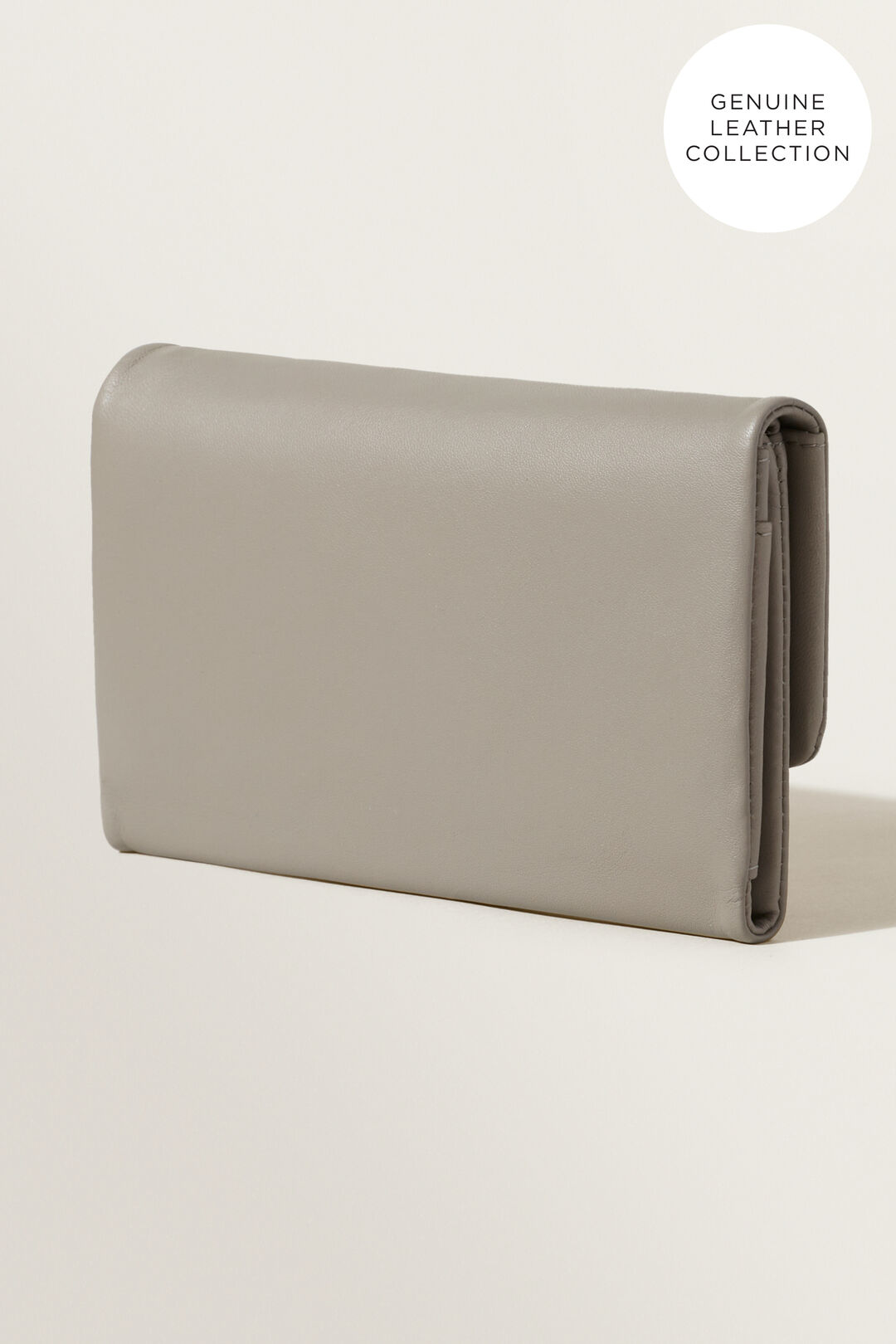 Leather Fold Over Wallet  Grey  hi-res
