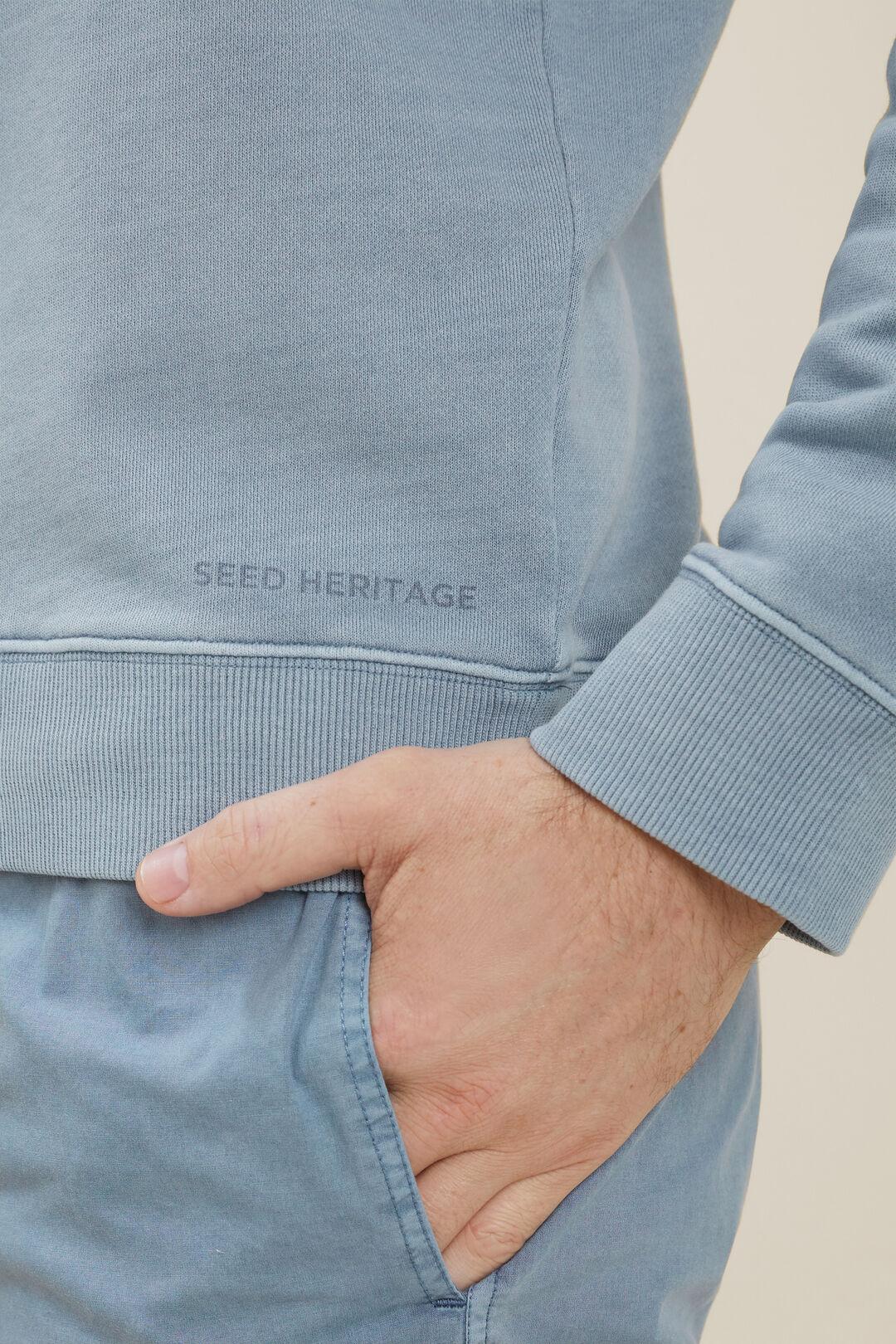 Mens Cotton Sweater  Steel Blue  hi-res