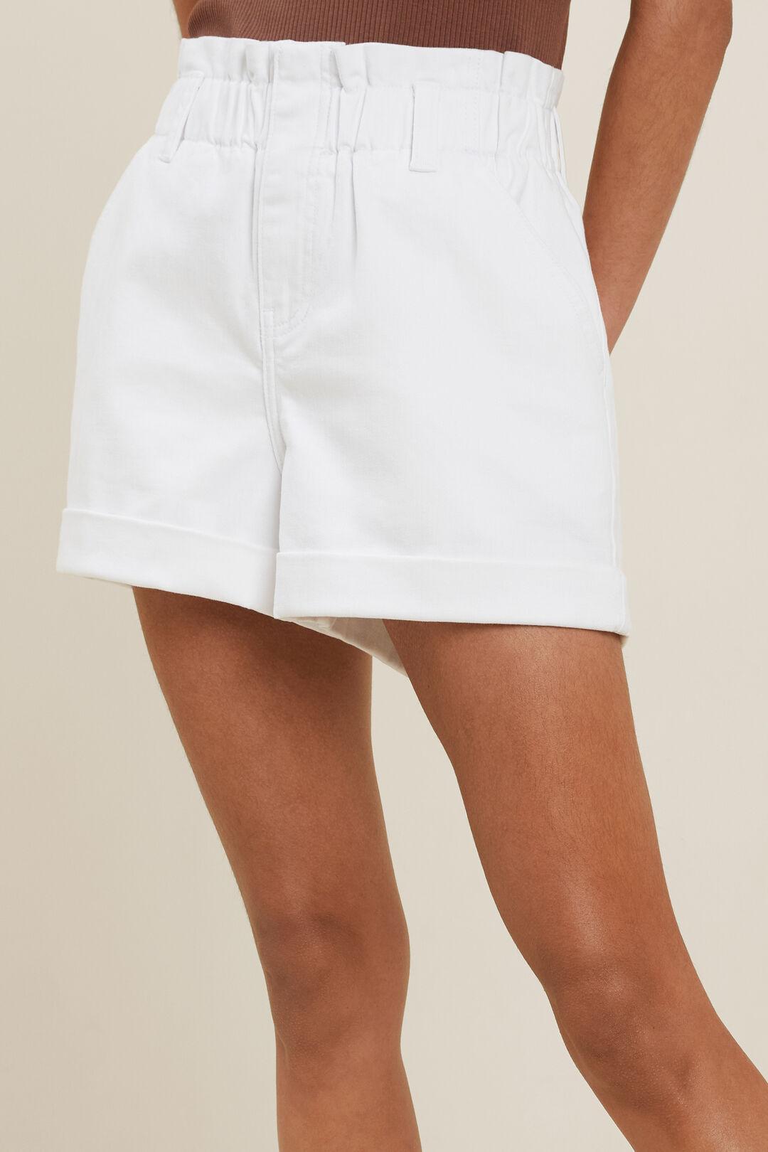 Denim Paperbag Short  White  hi-res