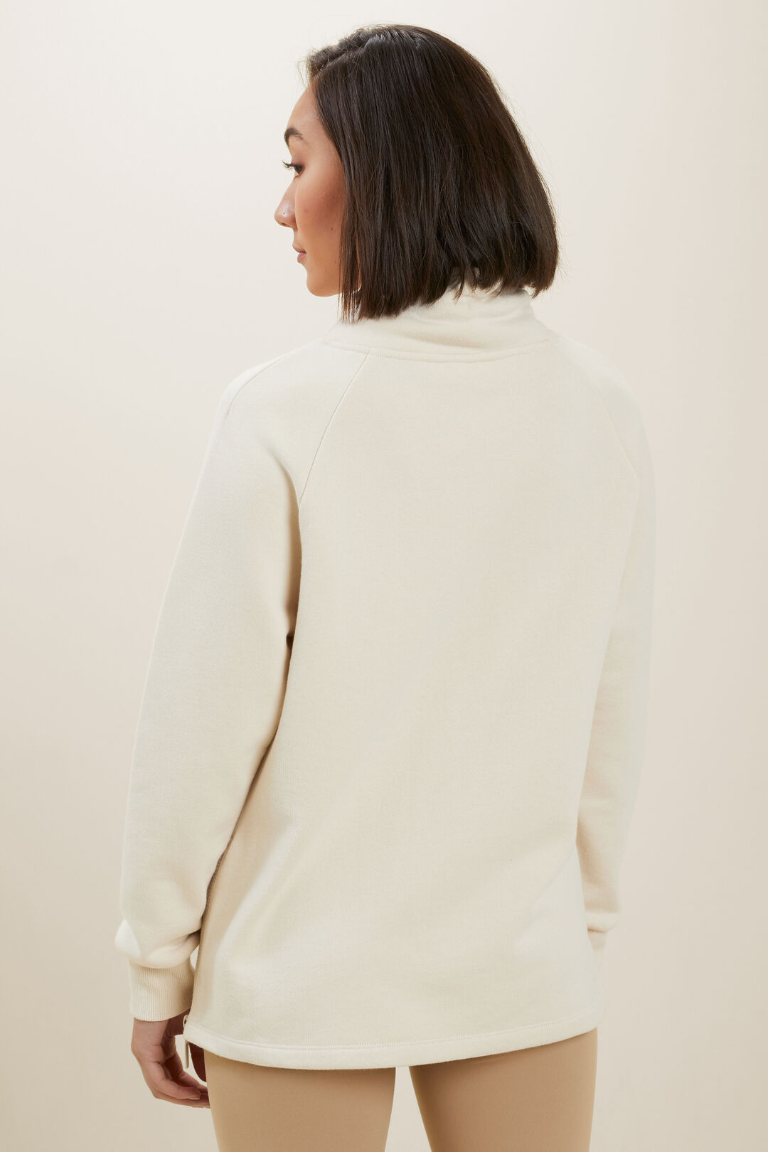 Terry Zip Sweater  Pebble Cream  hi-res