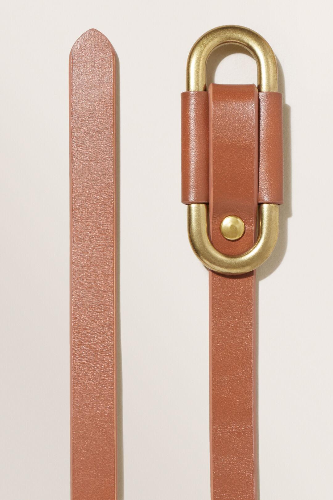 Oval Leather Belt  Tan  hi-res
