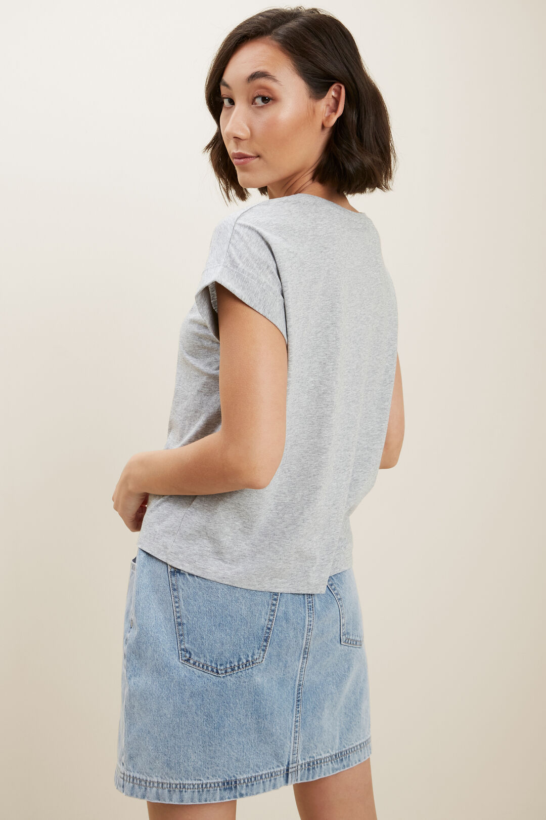 Core Rolled Cuff Tee  Light Ash Marle  hi-res