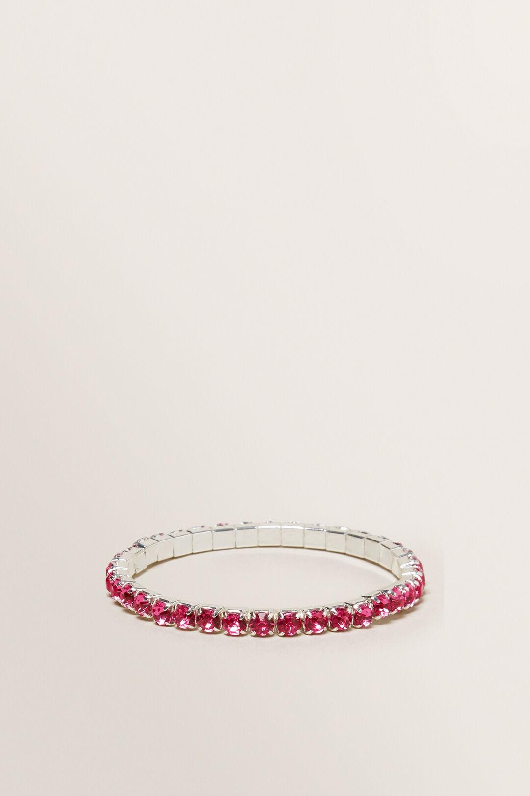 Diamante Stretch Bracelet  Pink  hi-res