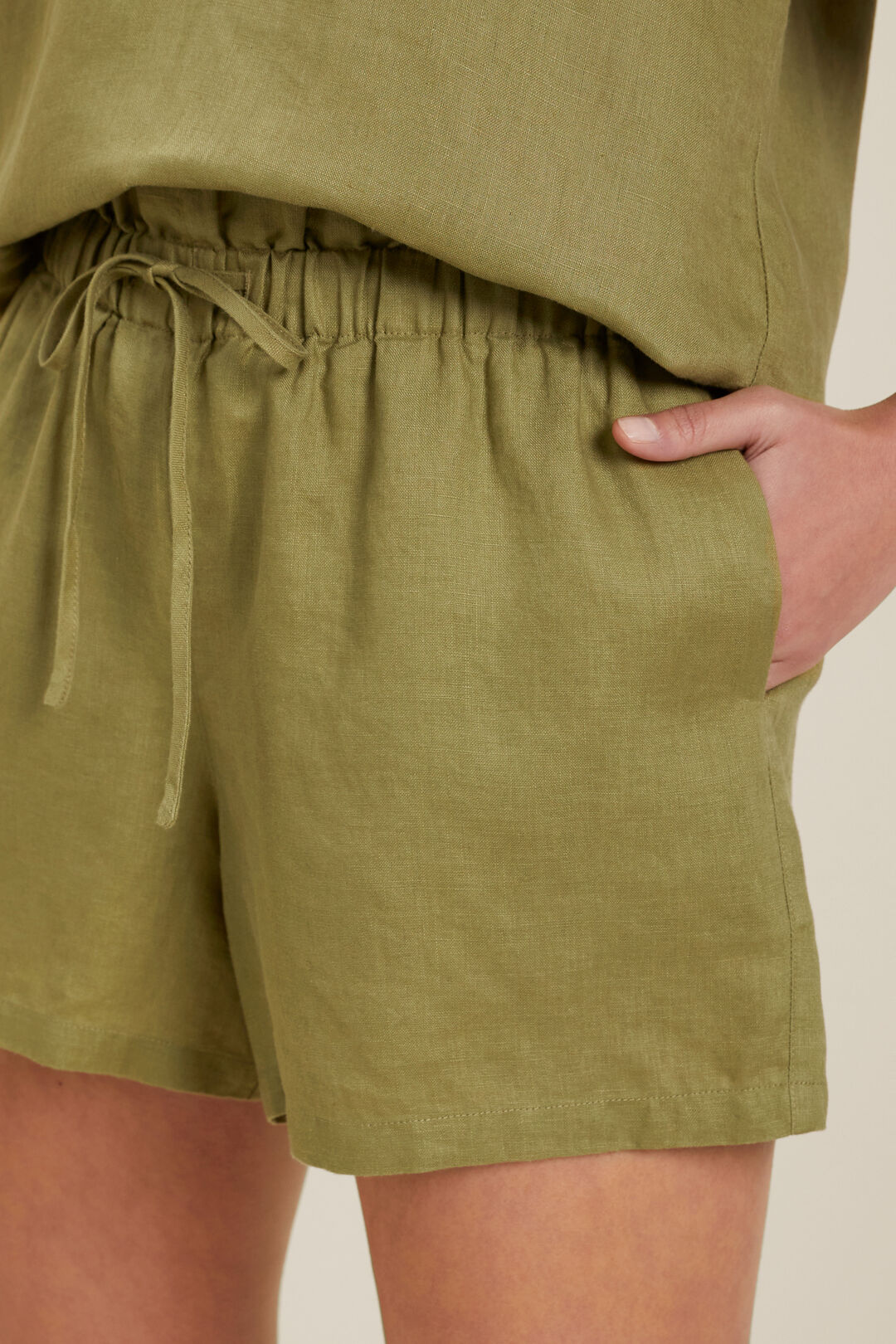 Core Linen Tie Up Short  Sage Green  hi-res