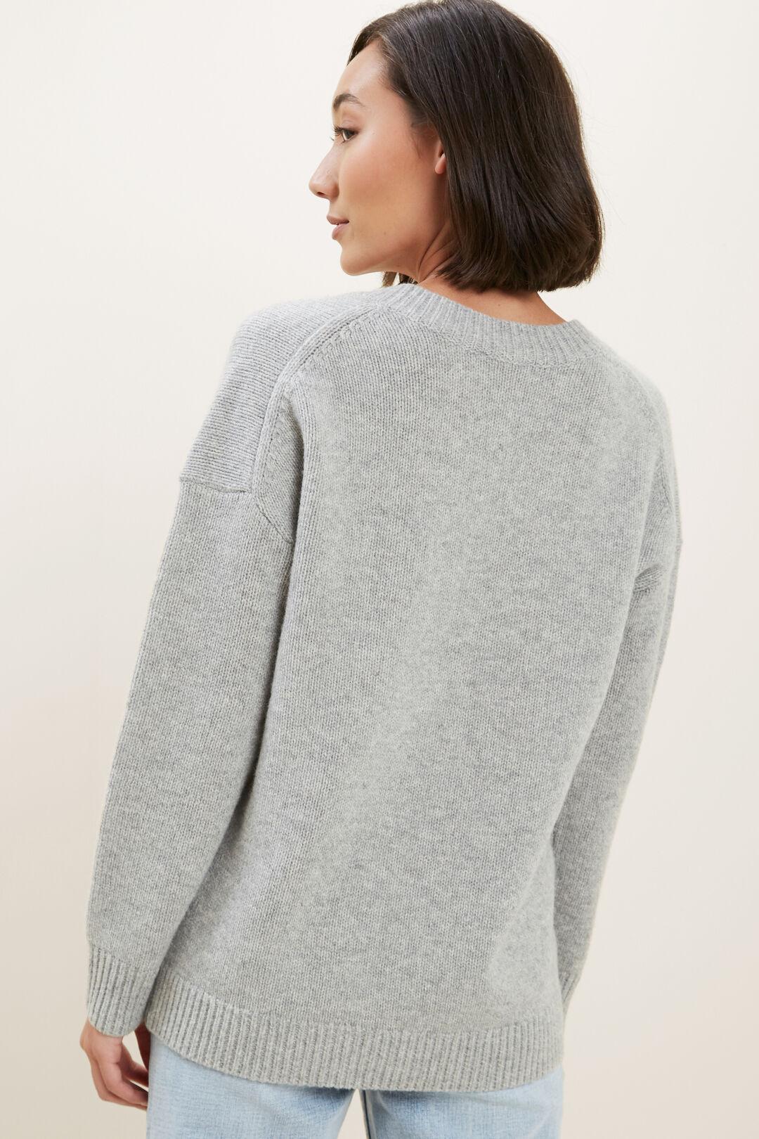 V Neck Wool Sweater  Cool Grey Marle  hi-res