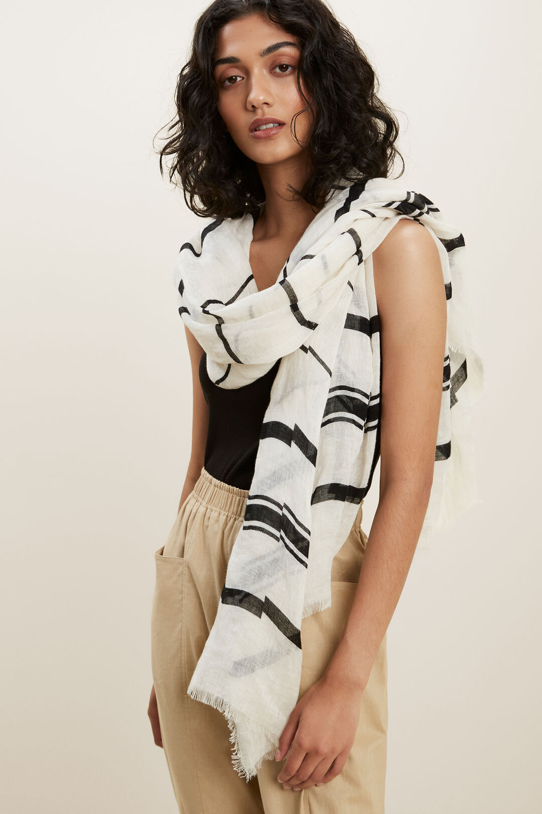 Linen Stripe Scarf  White Black  hi-res