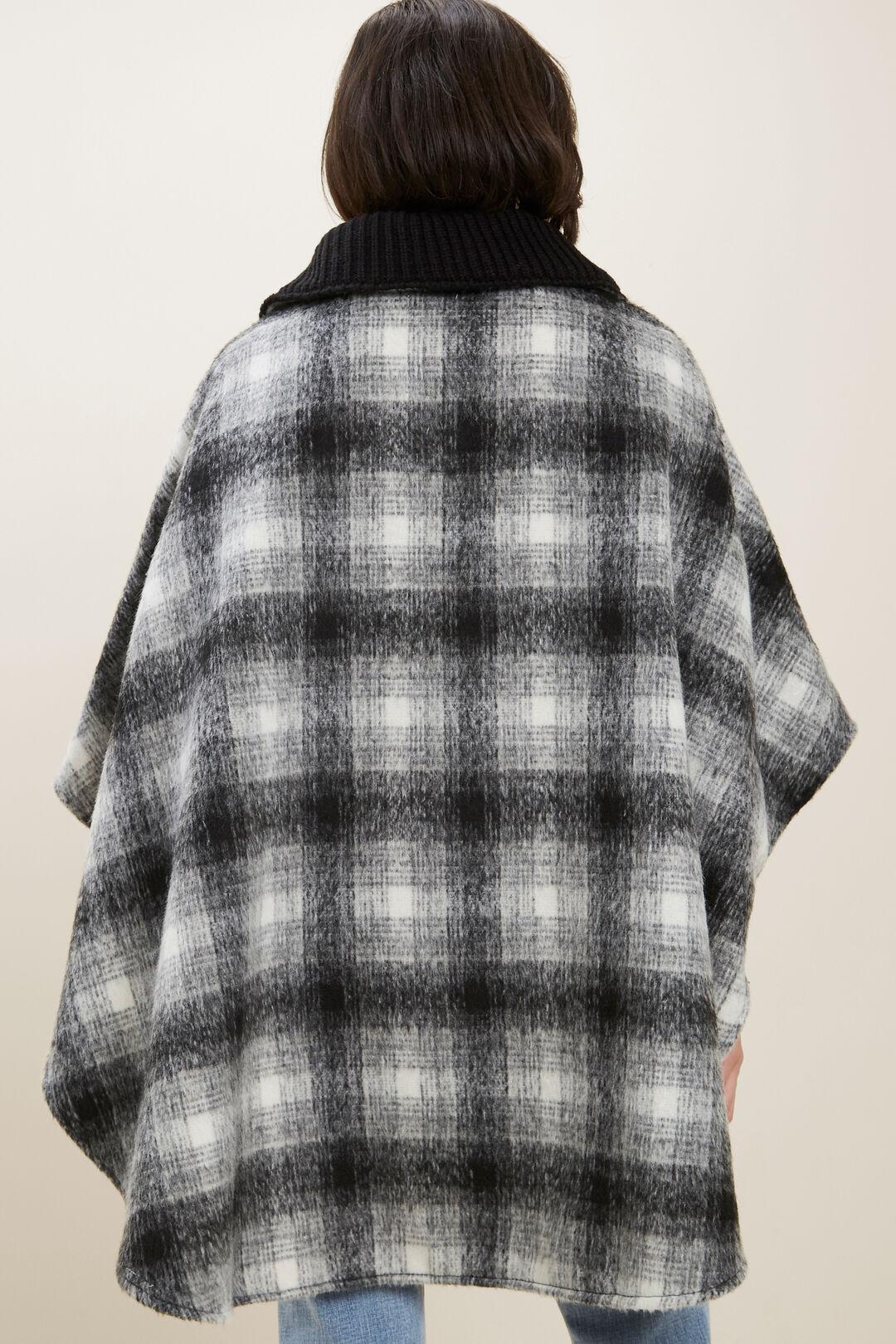 Wool Check Poncho  Black Multi  hi-res