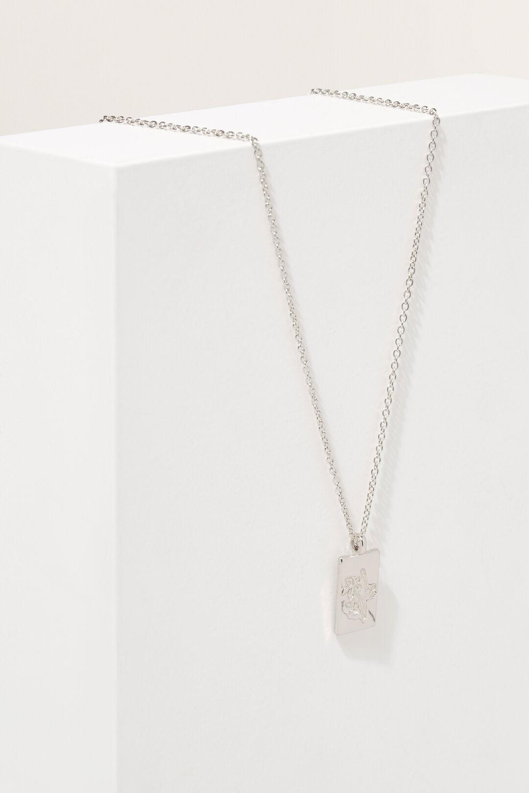 Flower Pendant Necklace  Silver  hi-res