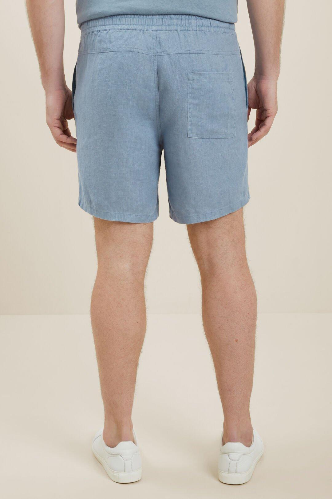 Mens Linen Shorts  Steel Blue  hi-res