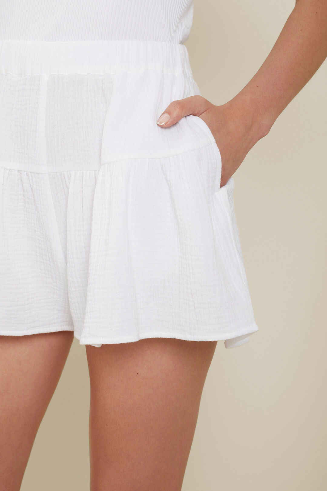 Cheesecloth Flutter Short  Whisper White  hi-res