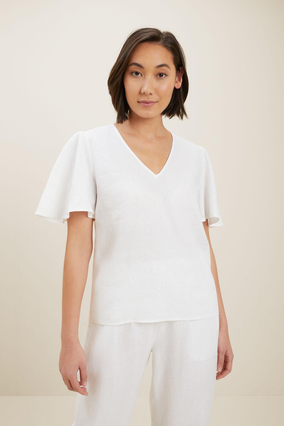 Core Linen Flutter Sleeve Top  Whisper White  hi-res