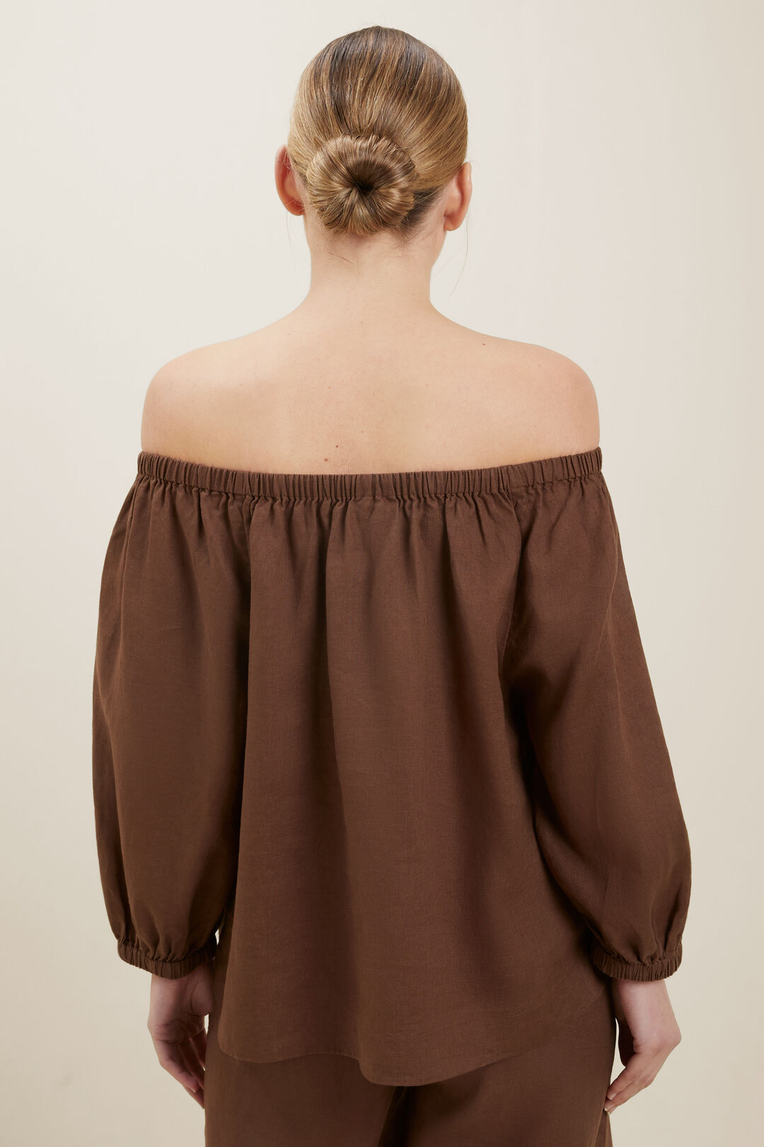 Linen Peasant Top  Russet Brown  hi-res