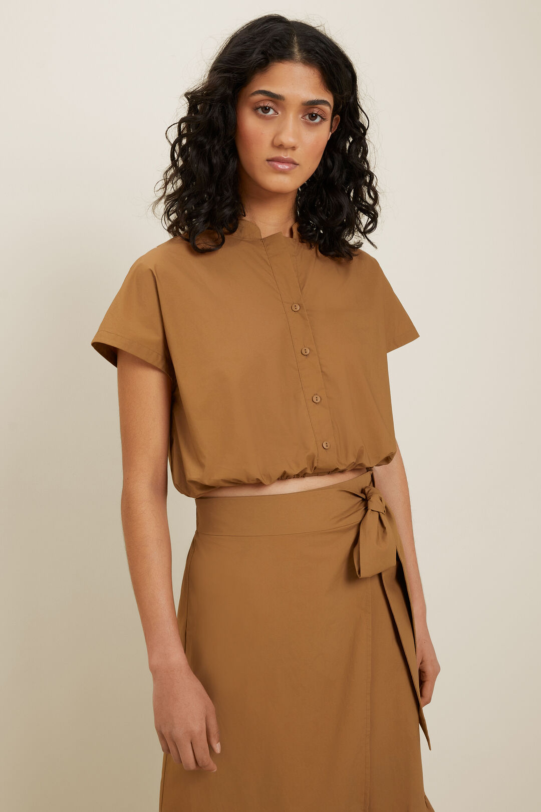 Poplin Cropped Shirt  Sienna Brown  hi-res