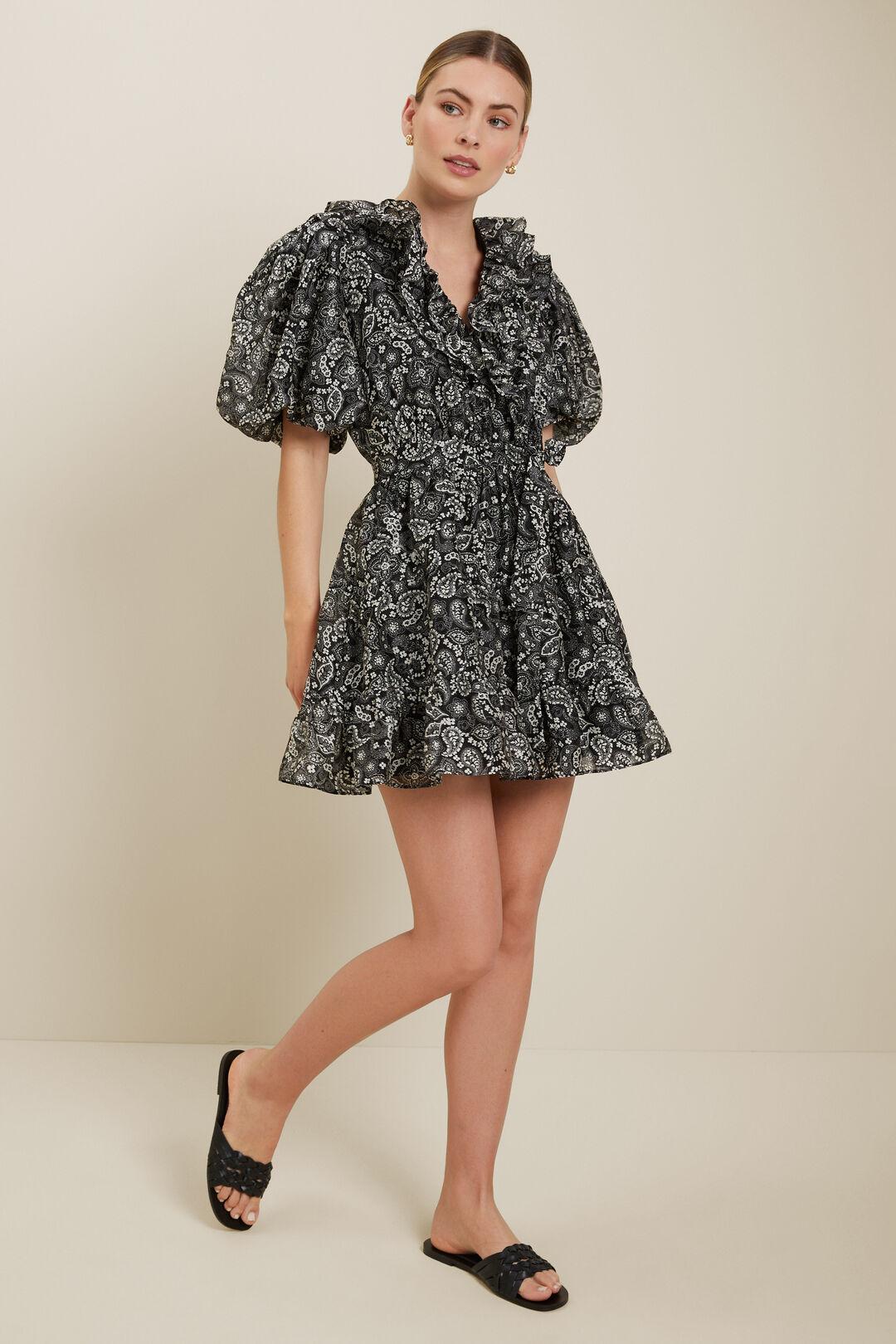 Silk Blend Mini Dress  Floral Paisley  hi-res